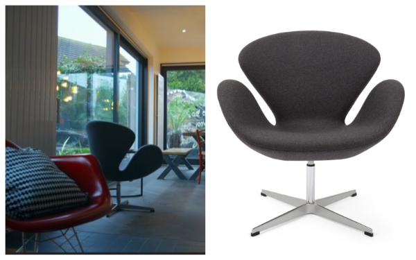 Arne Jacobsen-style grey wool Swan chair  SHOP HERE