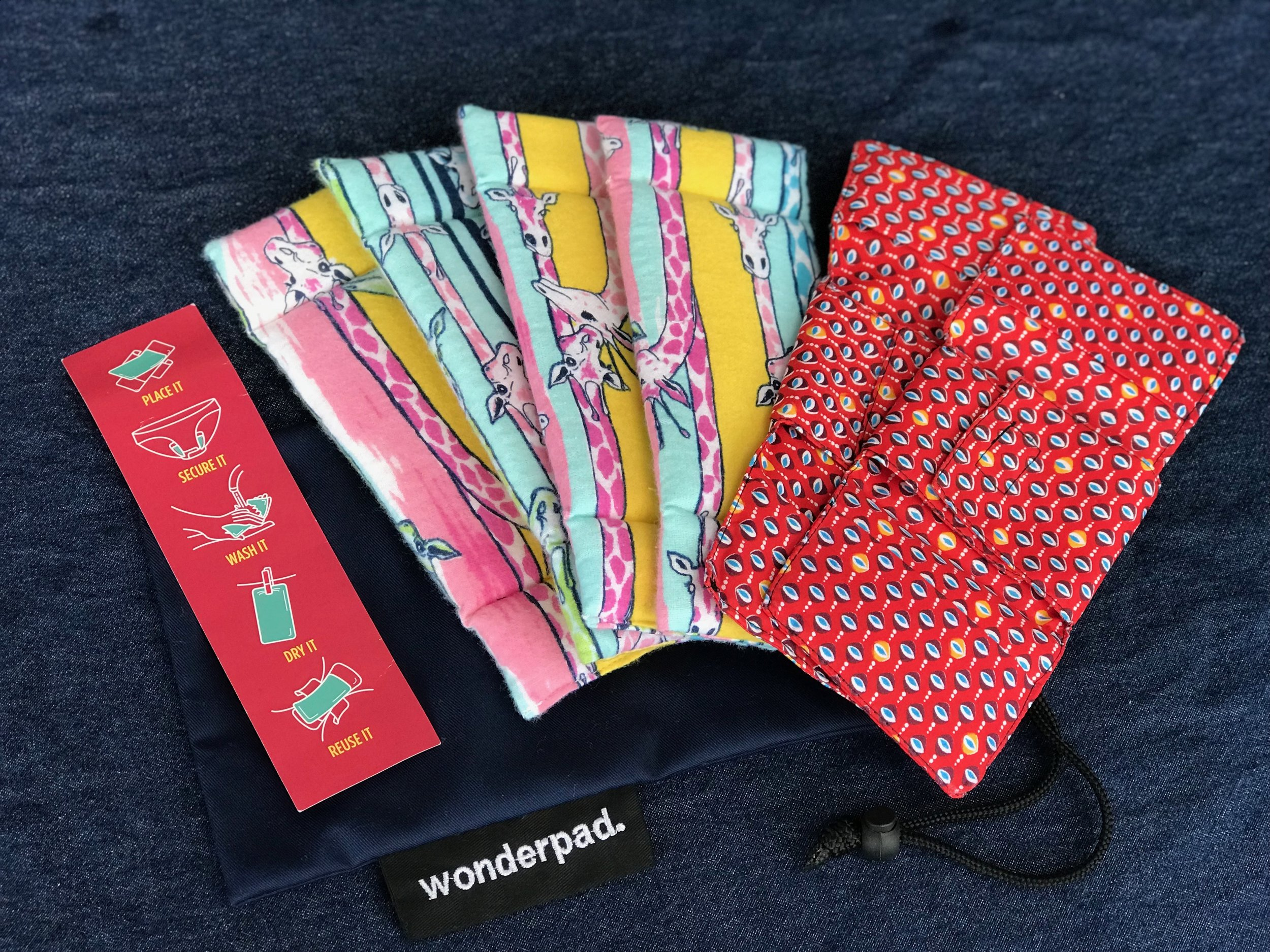 Wonderpads are washable sanitary pads. - Wonderpads are made of thin, absorbent foam surrounded by 100% cotton flannel. A waterproof liner attaches to underwear and holds the pads in place. Everything is washable and reusable.