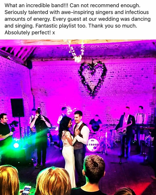 Such lovely words! Thanks soo much! We absolutely LOVE what we do. . . #wedding #weddingband #partyband #party #review #livemusic #sussexwedding #surreywedding #bride #groom #positive #weddingideas #bridalinspiration #weddinginspiration #luxuryevents #eventprofs #eventprofsuk #band