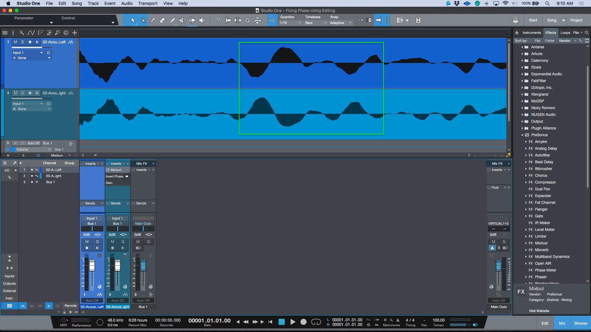 Note that the Waveforms are heading in exact opposite directions - and hence 180 degrees out of phase with each other.