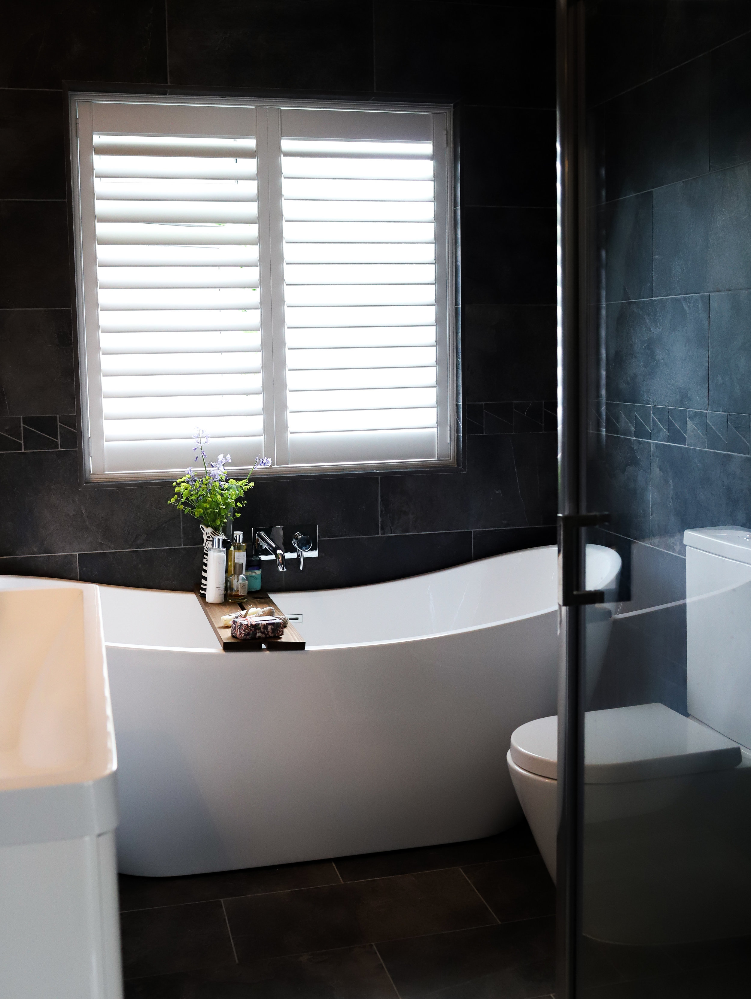 Soak Free standing Bath, The find Interiors, Plantation Shutters