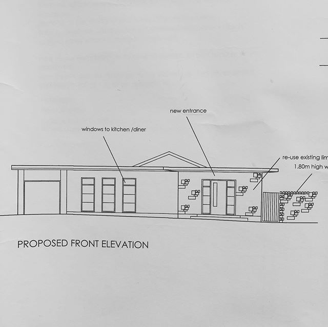 Day 2 ~ R e d  T a p e ~ if you scroll pictures 1 2 & 3 you will see the plans of front elevation the floor plans and what this bungalow looked like before we started 😳😳😳.... I had a vision of what I wanted it to look like and my architect drew the plans.  We sent them off to the planning office and then the fun started.  The first plans we put in we were hoping to have a pitched roof to match the back of the bungalow. There were objections 😒 so then my daughter @rachaelecox came up with a fab idea to put a canopy around the roof giving it a sleek and modern look... I absolutely love the new design and cannot wait to see it all take shape 🤗  I will try and do daily stories showing you the progress today the bricklayer started and the walls are growing 🙌🏻🙌🏻🙌🏻😬 . . . @storyofmyhome . . #renovation #renovationlife #thedelightofdecor #howwedwell #theperfecteveryday #theeverydayproject #renovationproject #stopandstare #howyouhome #faffthegaff #thisishome #styleit #bungalowstyle #postitandsmile #spotlightonmyhome #storyofmyhome #flashesofdelight #myspaceanddecor #rockmystylishhome #myfabhome #mystylishspace #myhometrend #nesttoimpress #bungalowliving