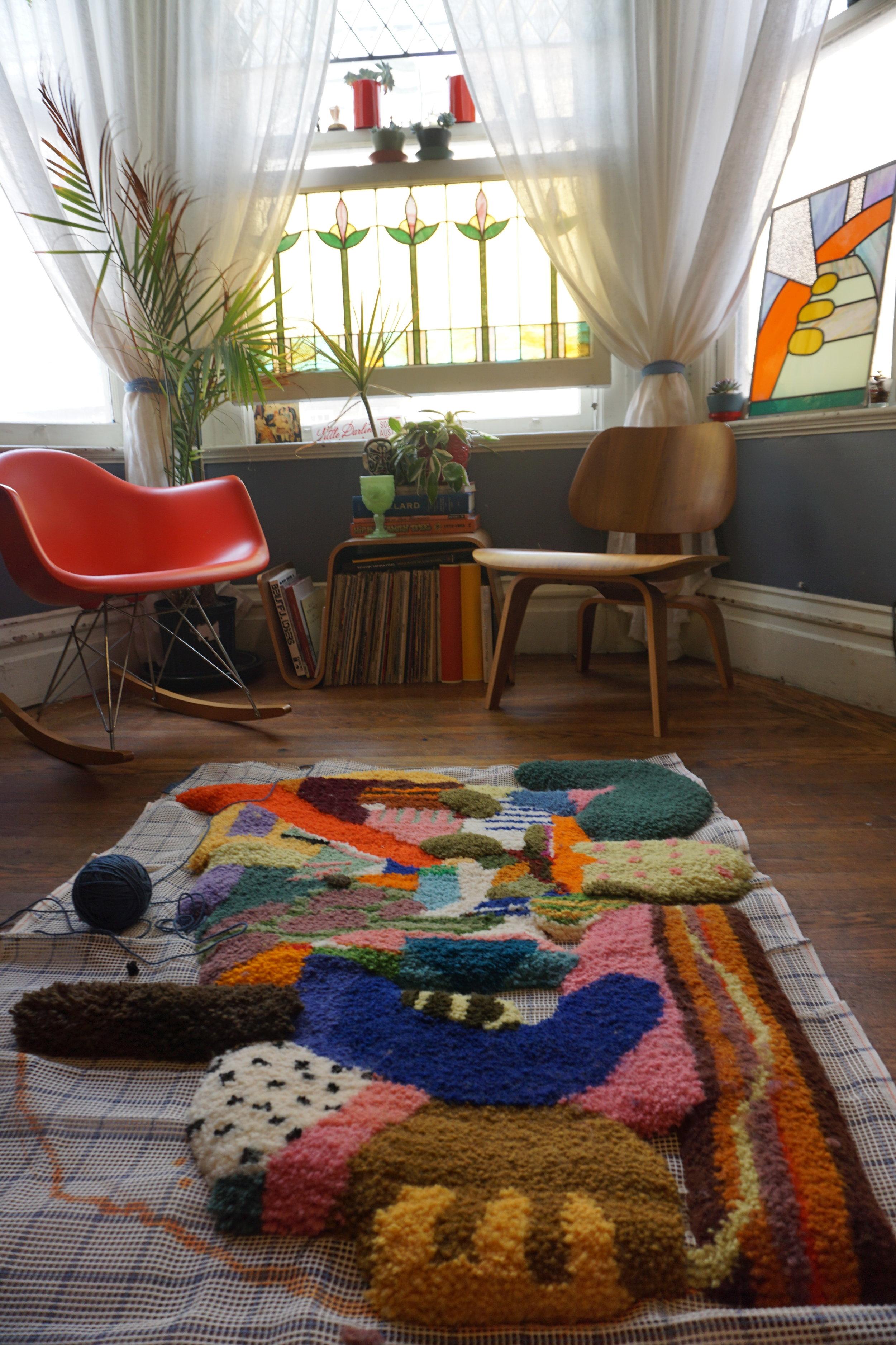 kerbi-urbanowski-home-WIP-rug-stained-glass.JPG