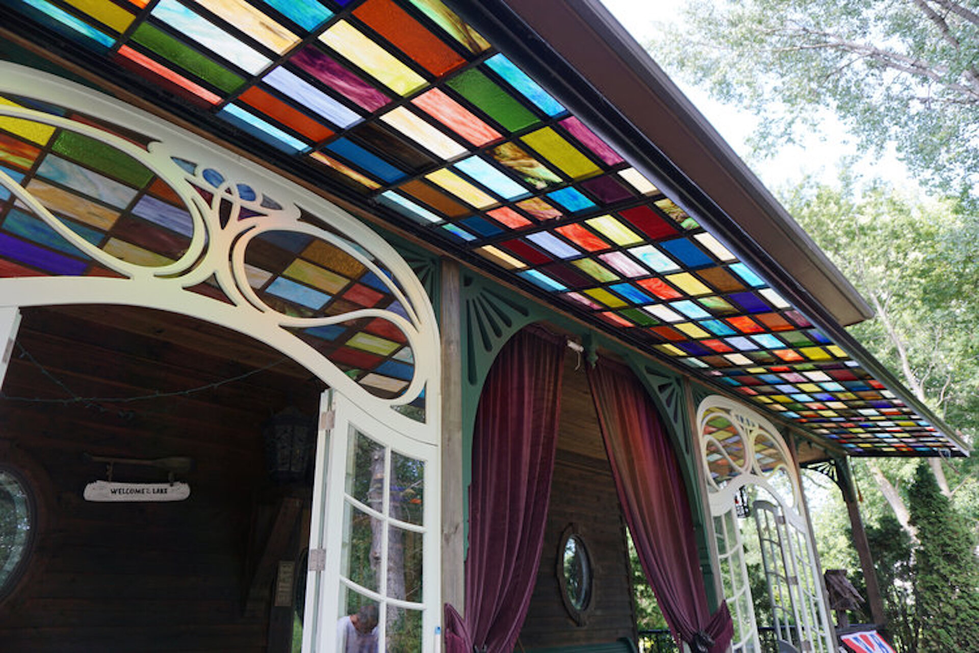 ADELINE'S HOUSE OF COOL , WISCONSIN, 45FT X 5FT STEEL STAINED GLASS AWNING