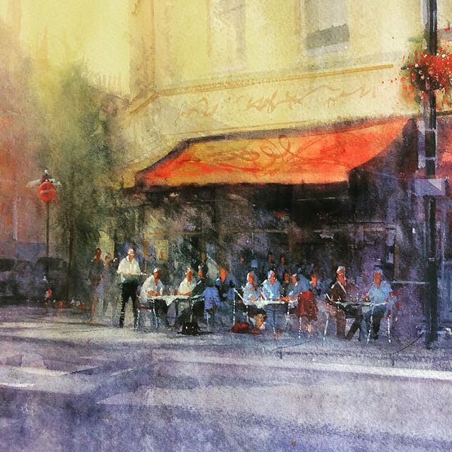 ENCOUNTER . . . . On the #countdown to @bathartfair so im #showcasing the #paintings I'll be #exhibiting. . . . Here with #encounter a #watercolor based on a #pleinair moment I captured in #london near #paddington. Workers #meeting after work creating a beautiful #atmosphere  by the #canal . . . #artistsoninstagram #londonpainting #londonwatercolour  #londonartist #londonart