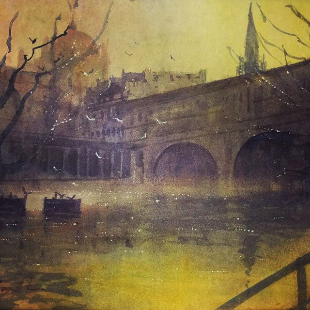 PULTENEY BRIDGE . . . This #watercolor was created in #pleinair on a dusky summers day in #bath I just love the #reflections and #tone created by the bridge and the #light was just magical . . . . #bathart #artistsoninstagram #artoftheday #art #watercolorpainting @rosemarybrushes @briansmithartist