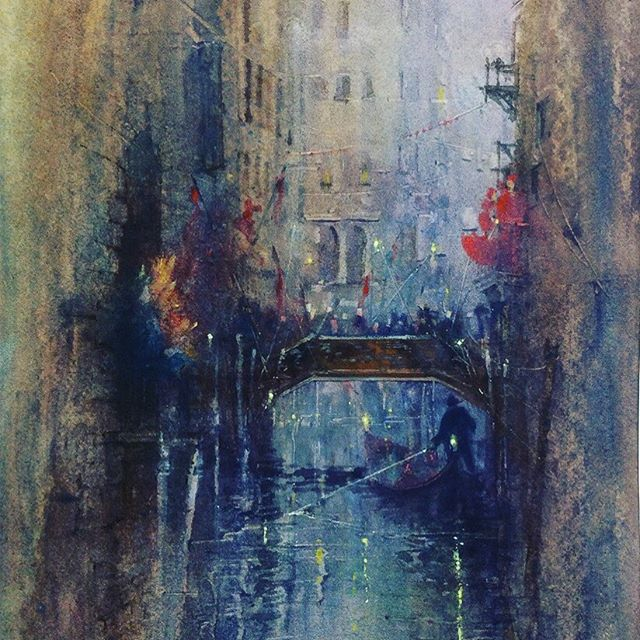 CARNIVAL 🎡 . . . . Here with my newest piece accepted into the @royalsocietymarine open #exhibition @mallgalleries  So grateful. . . . This #watercolorpaintings #captures #light and #atmosphere of the #stunning city of #venice and it's #vibrant #carnival . . . #artistoninstagram