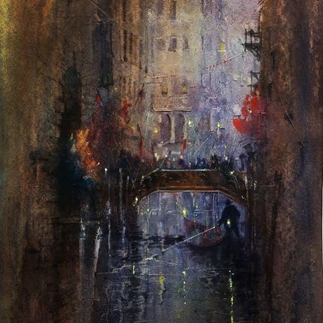 CARNIVAL . . . A #venetian #carnival scene from recent trip to #venice.  I get so much #inspiration from Venice that I tend to spend all time time #creating #pleinairpaintings. . . . This #watercolour #painting has been chosen for the @royalsocietymarine annual #exhibition 🙏 . . #londonart #artofinstagram #watercolourartist #artviral #artoftheday #fineart #pleinair #artist