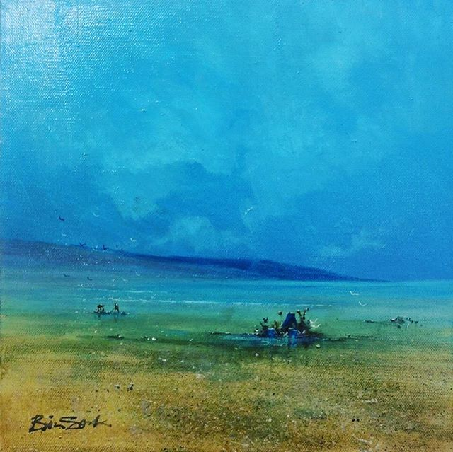 DIVE IN . . . . Herewith a new #acrylicpainting that ill@be showcasing @contemporaryartfairs this weekend in #windsor A #raw #painting that captures the #light and #atmosphere of a #moody #beachscene in the Mediterranean . . . #artoftheday #artistsoninstagram #artworld #thisart