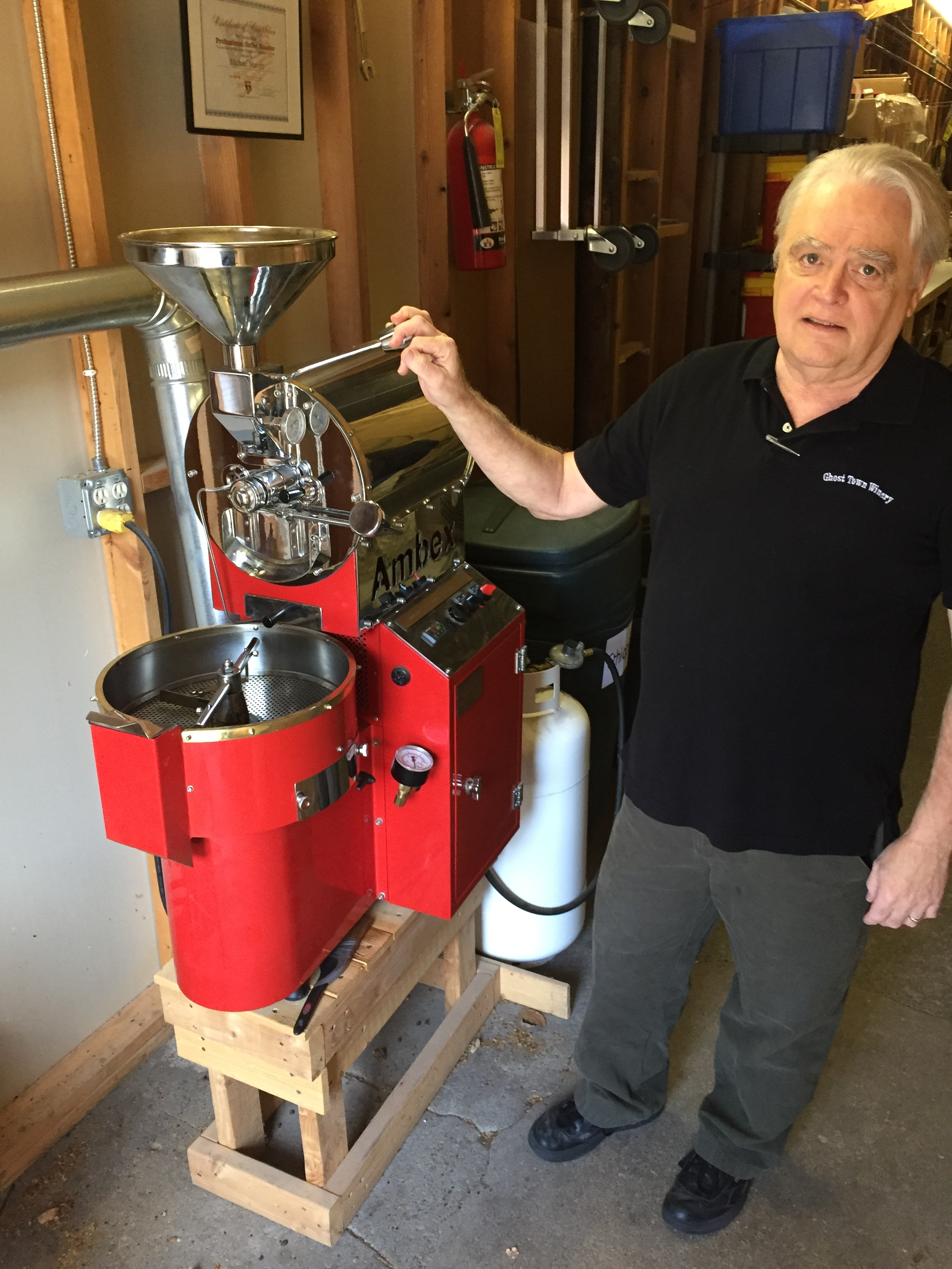 Our Master Roaster, Mike with his coffee roaster