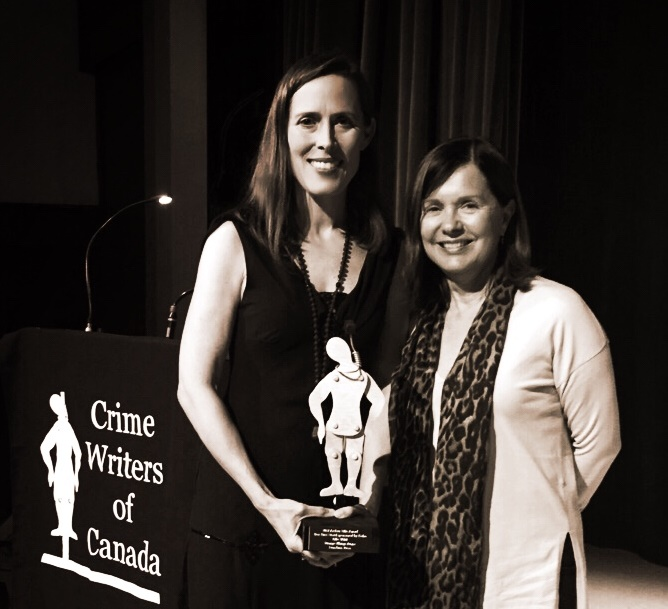 Crime Writers of Canada Gala - Elle Wild, winner of the 2017 Arthur Ellis Best First Crime Novel, with editor Diane Young