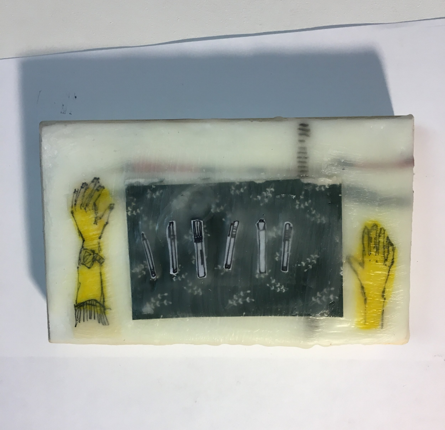 "Use Your Tools, 3""x 5"", Encaustic with paper on board, 2018"