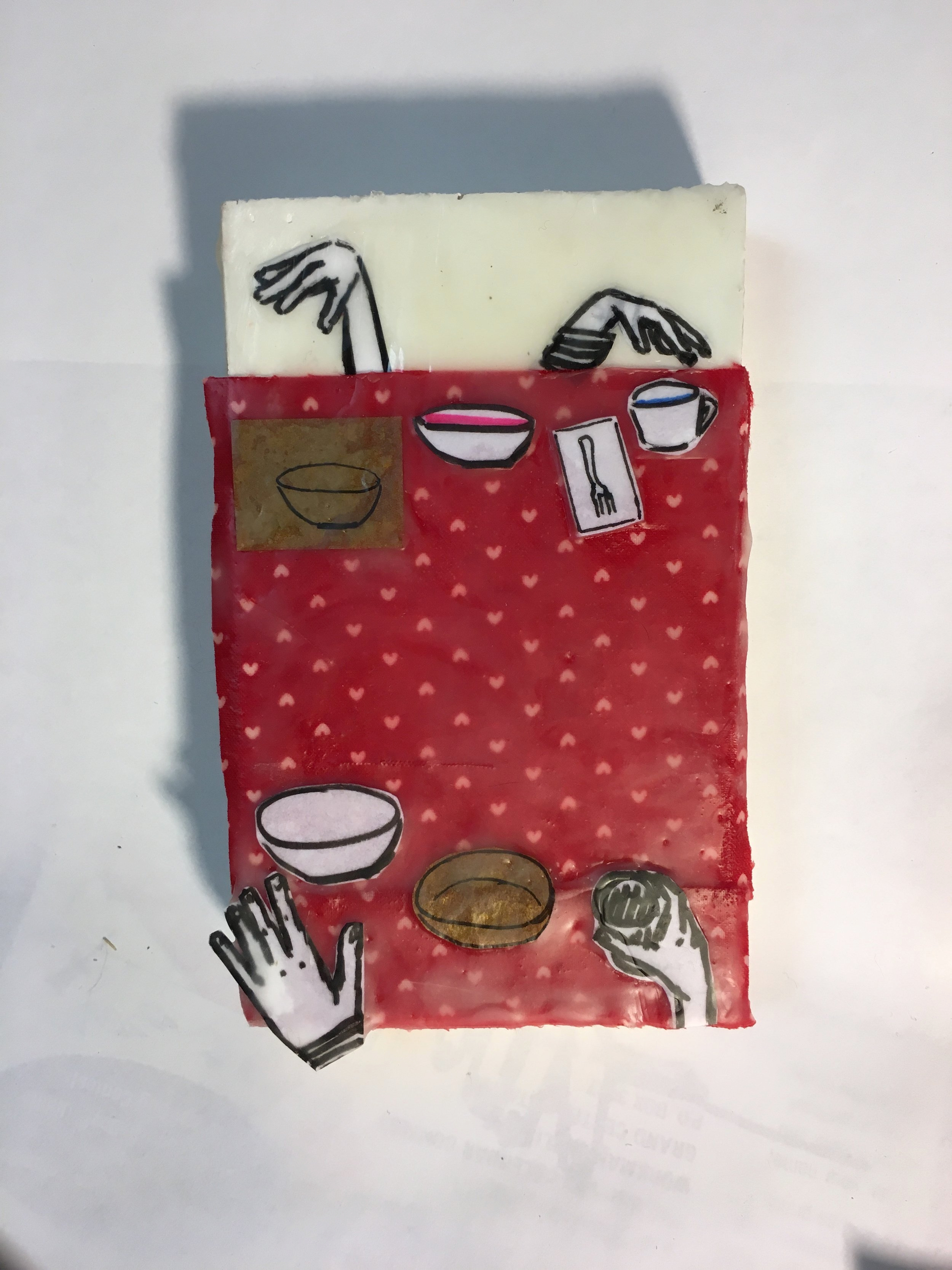 """Anxiety About New Relationships no. 1, Thank you for making dinner"", 3"" x 5"", Encaustic, paper and fabric on board, 2018"