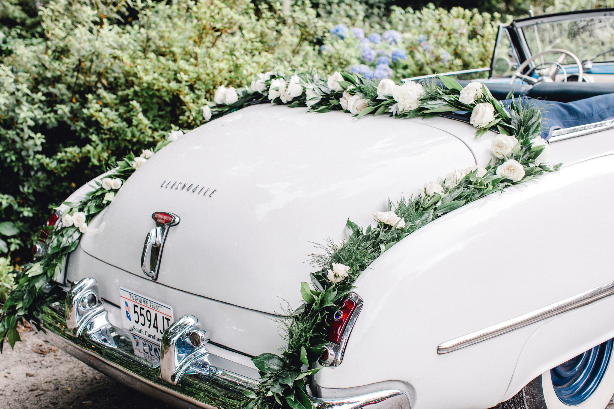 vintage getaway wedding car charleston wedding