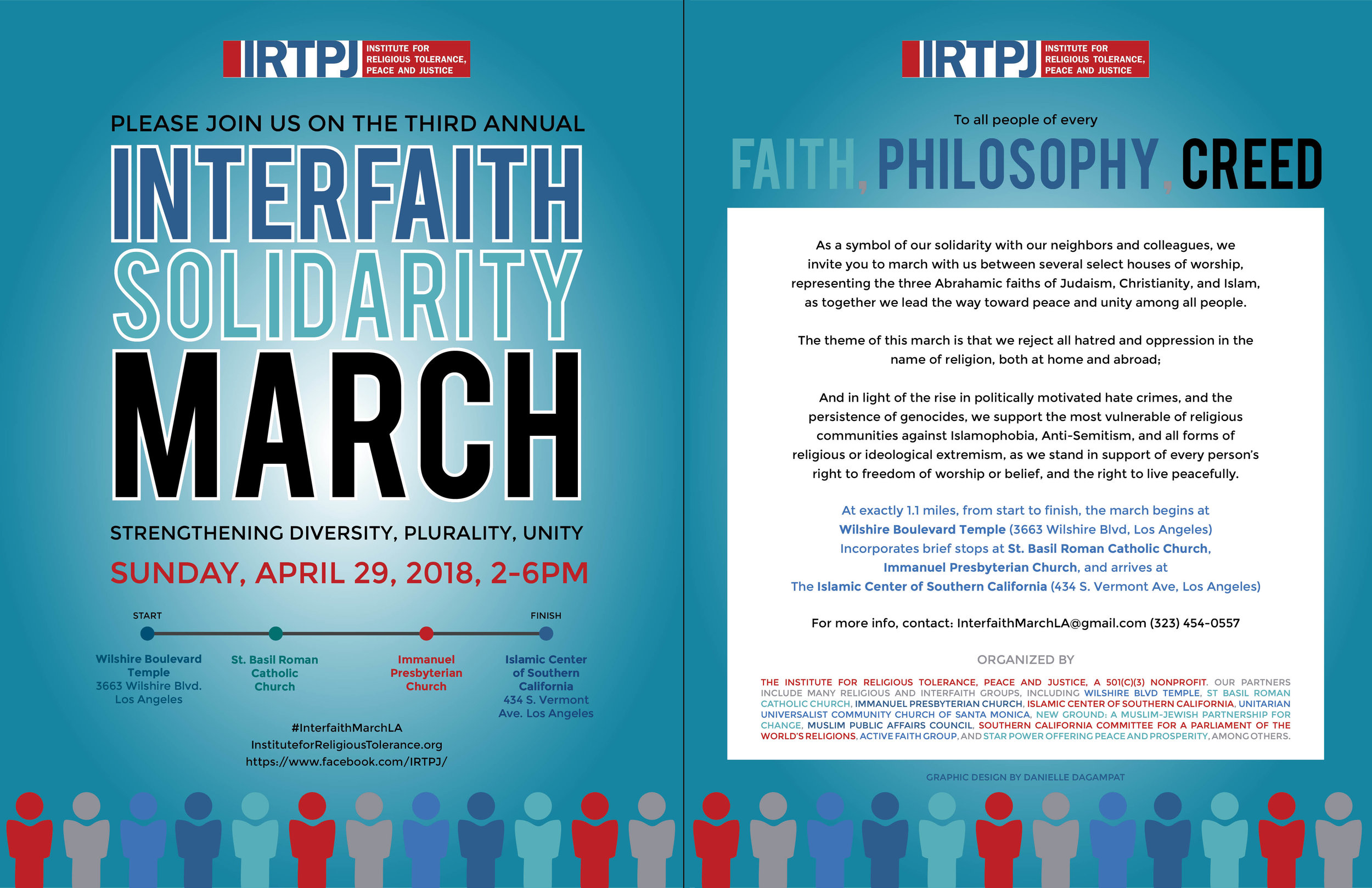 Interfaith Solidarity March LA 2018 #InterfaithMarchLA - Thank you to all of the participants of this year's march! It was a wonderful event. Enjoy the photo gallery and videos below. Click on the button Event Program for the day's program, list of speakers, and partnering organizations.