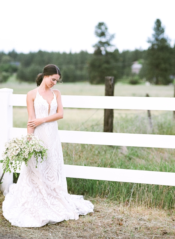 Spokane blush by Hayley Paige Delta wedding dress in field image