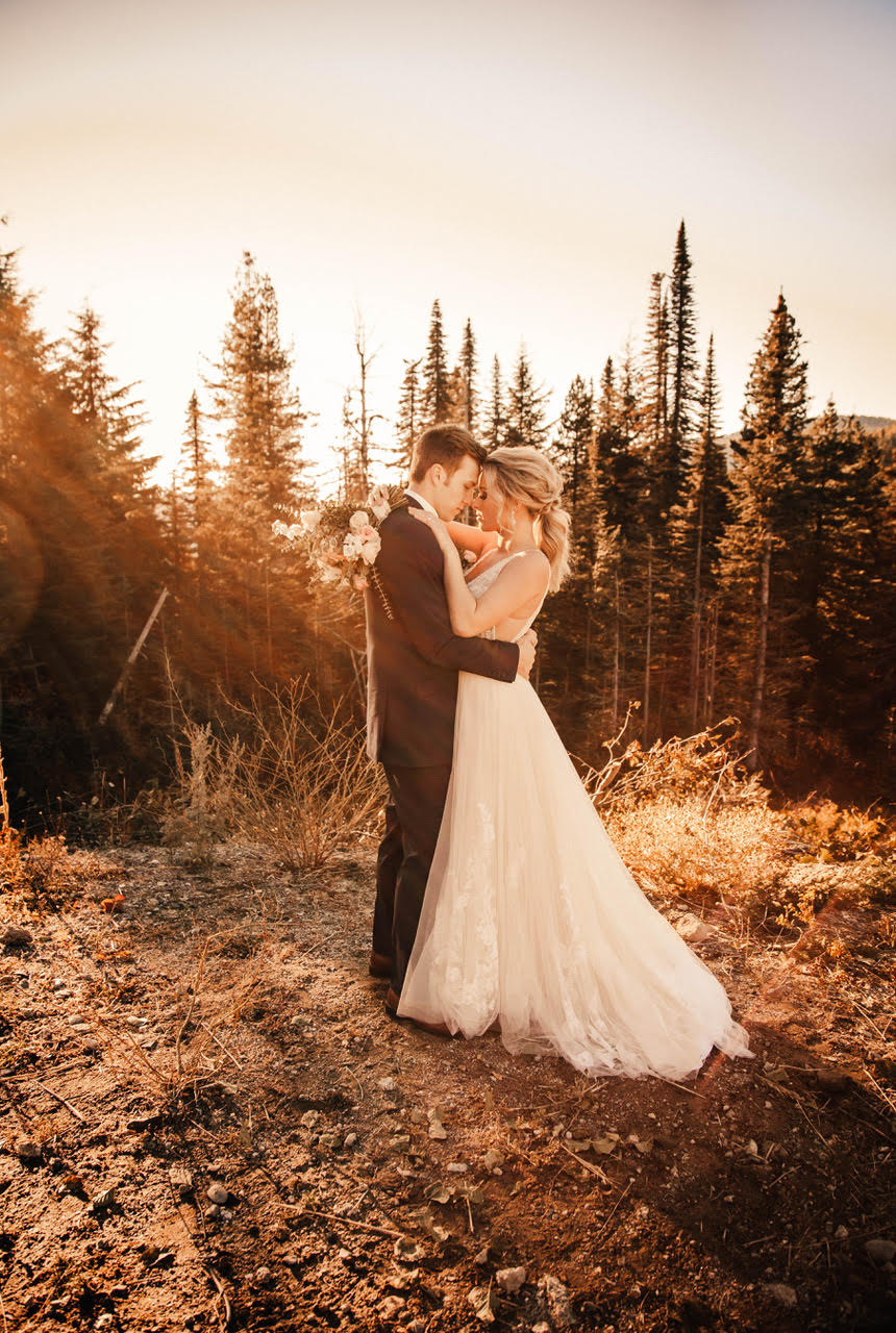 spokane wedding dress hugging groom image
