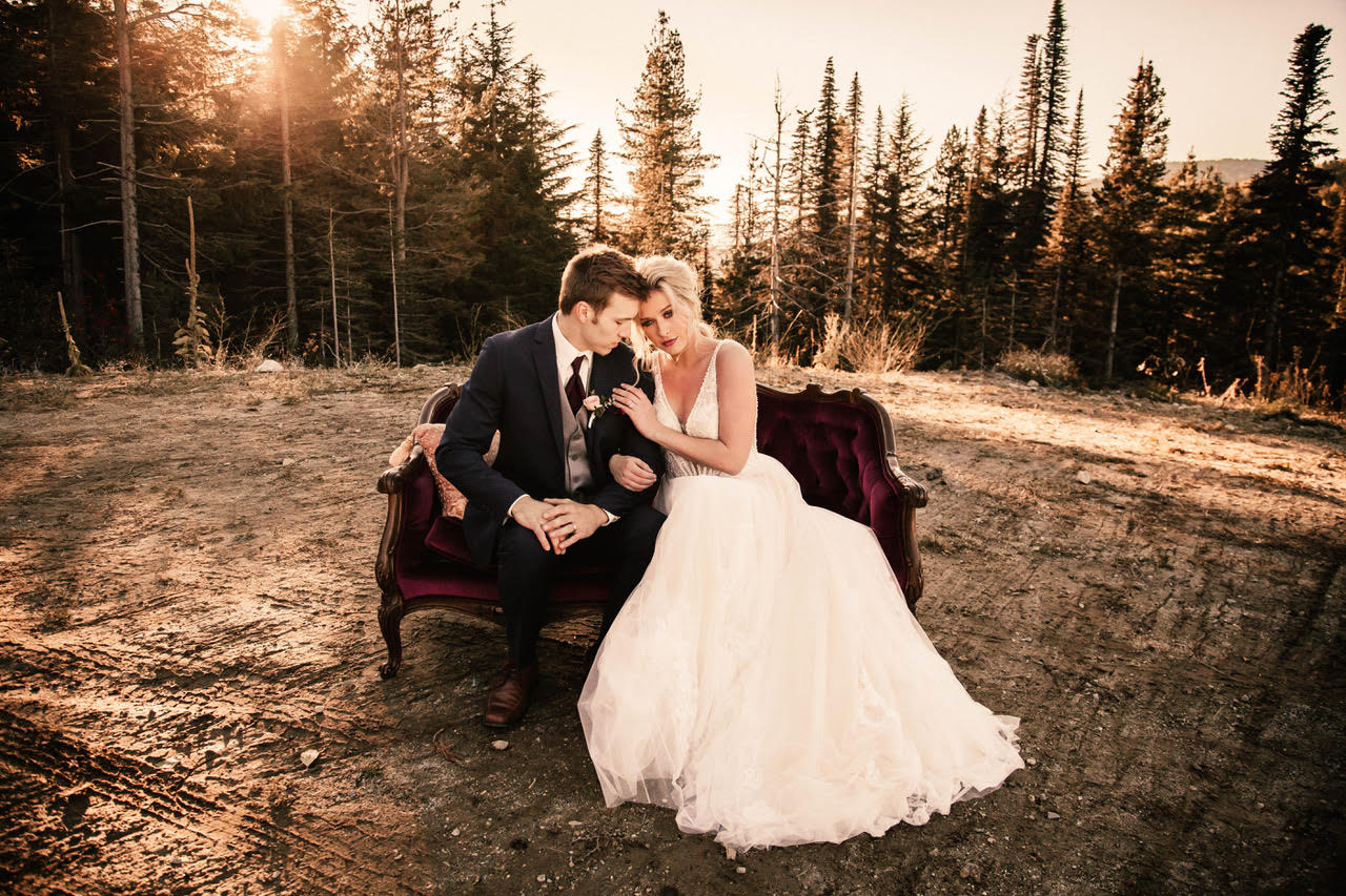 sitting on couch image spokane wedding dress