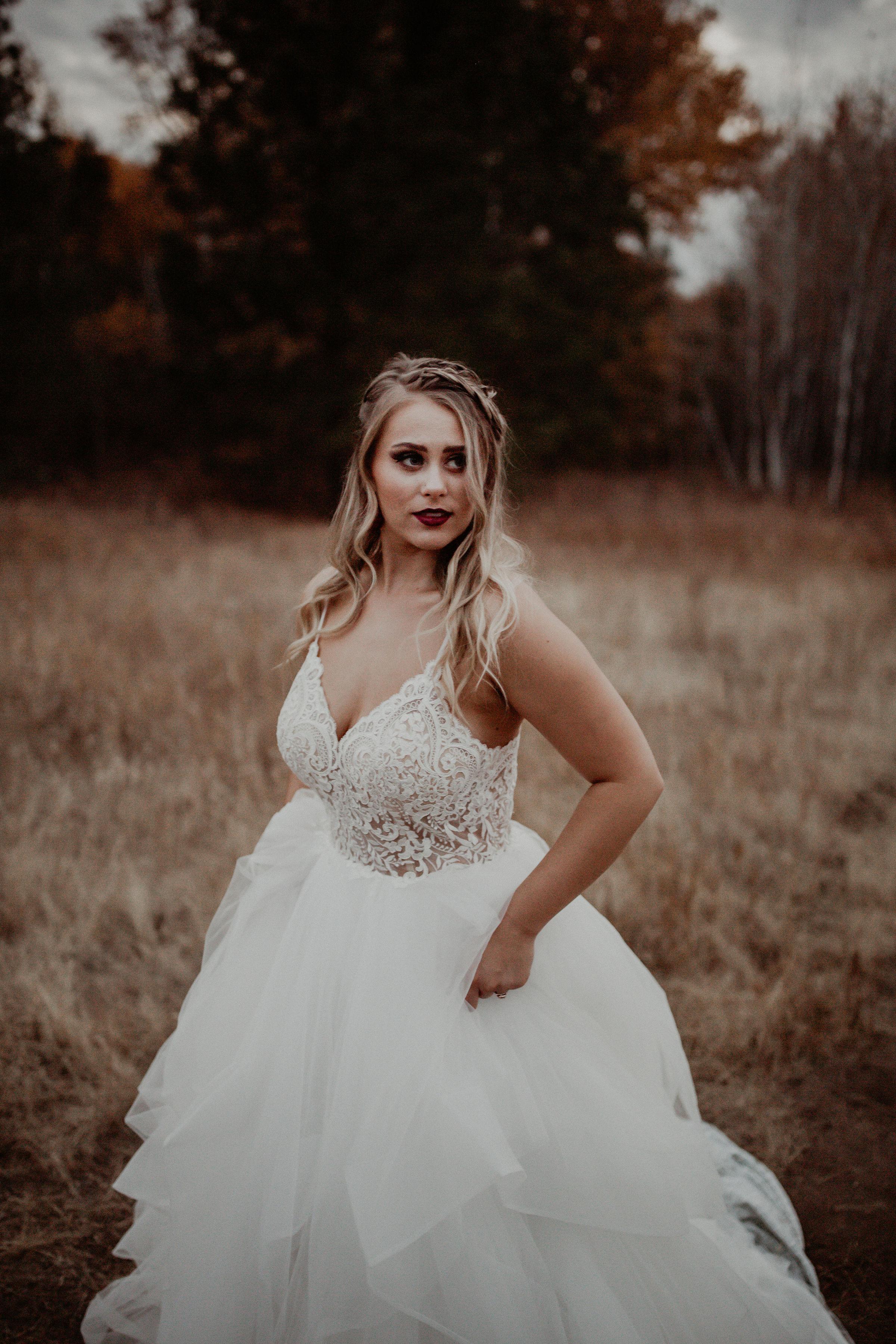 Wedding dress in a Spokane field blonde