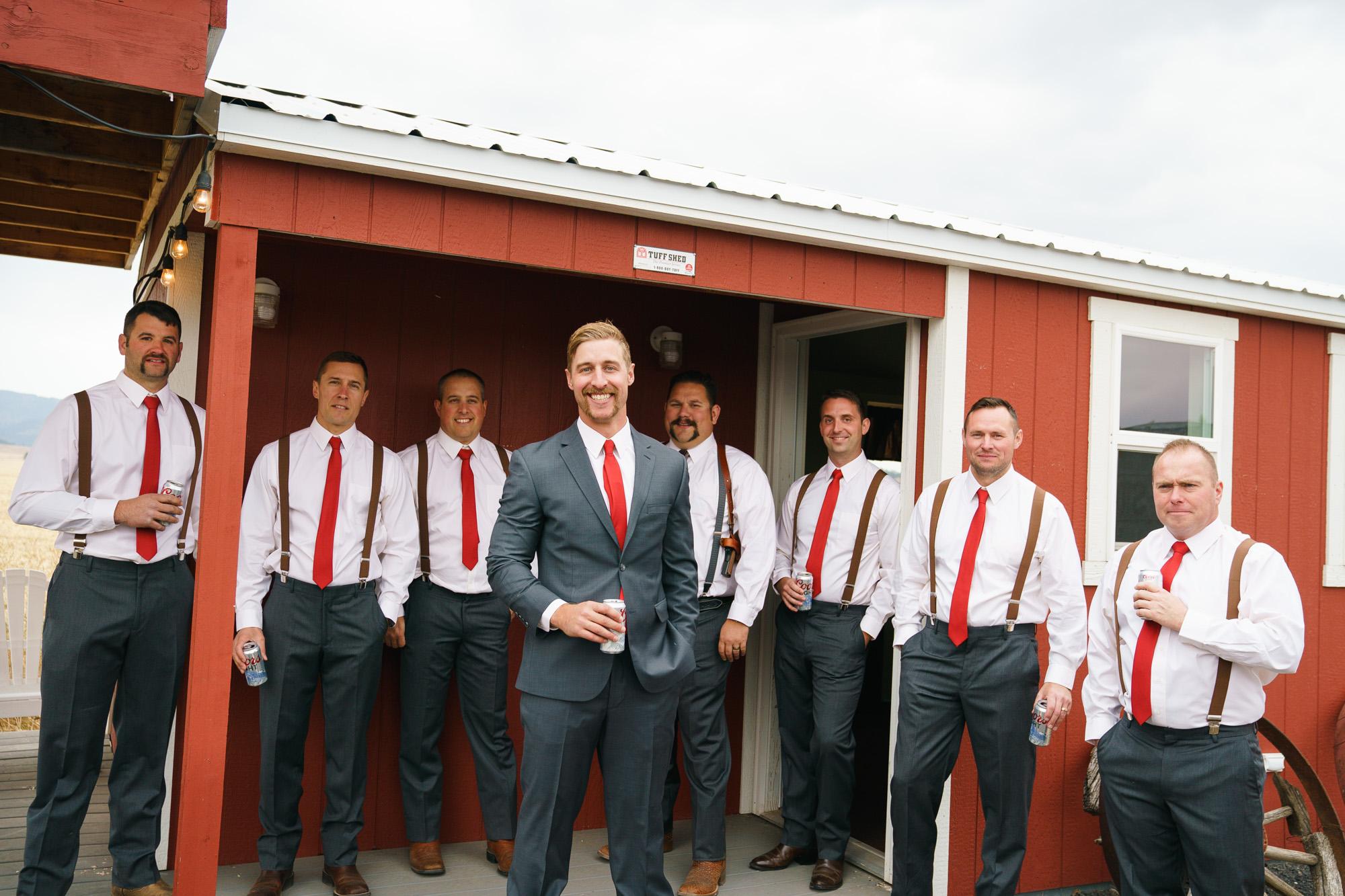 groomsman in the barn image spokane rea lwedding