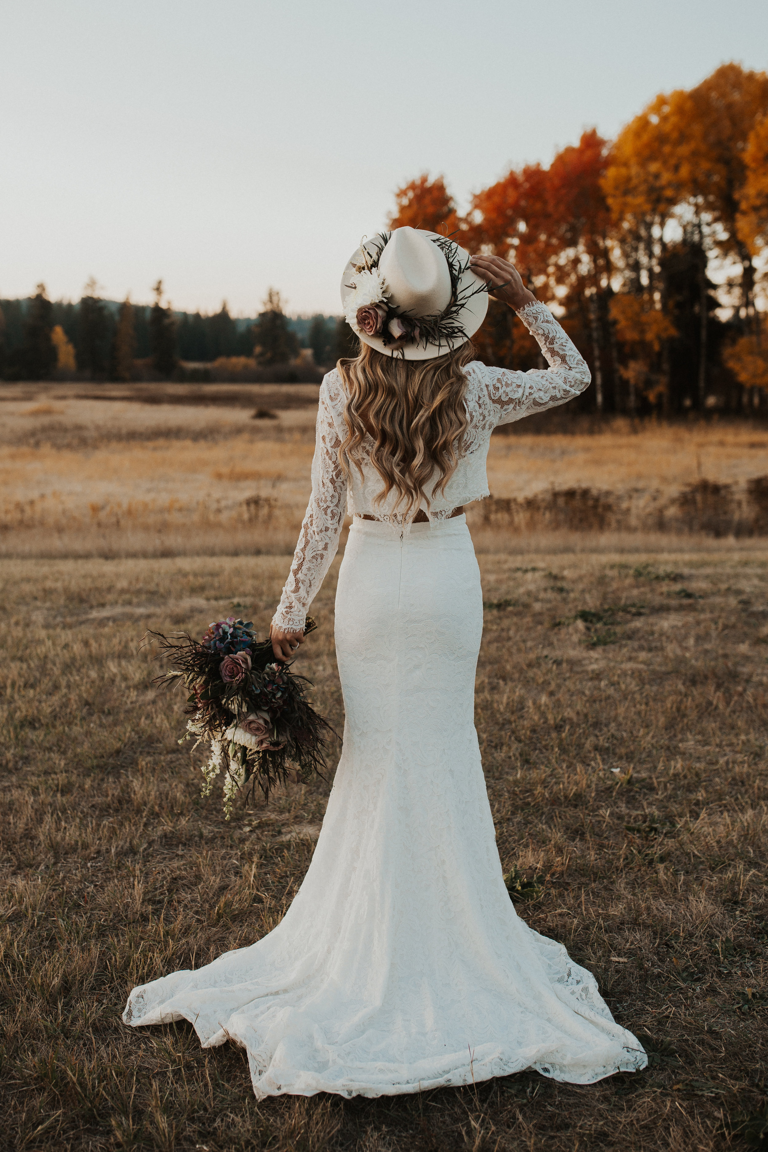 mt Spokane wedding photoshoot bride in lave two piece gown