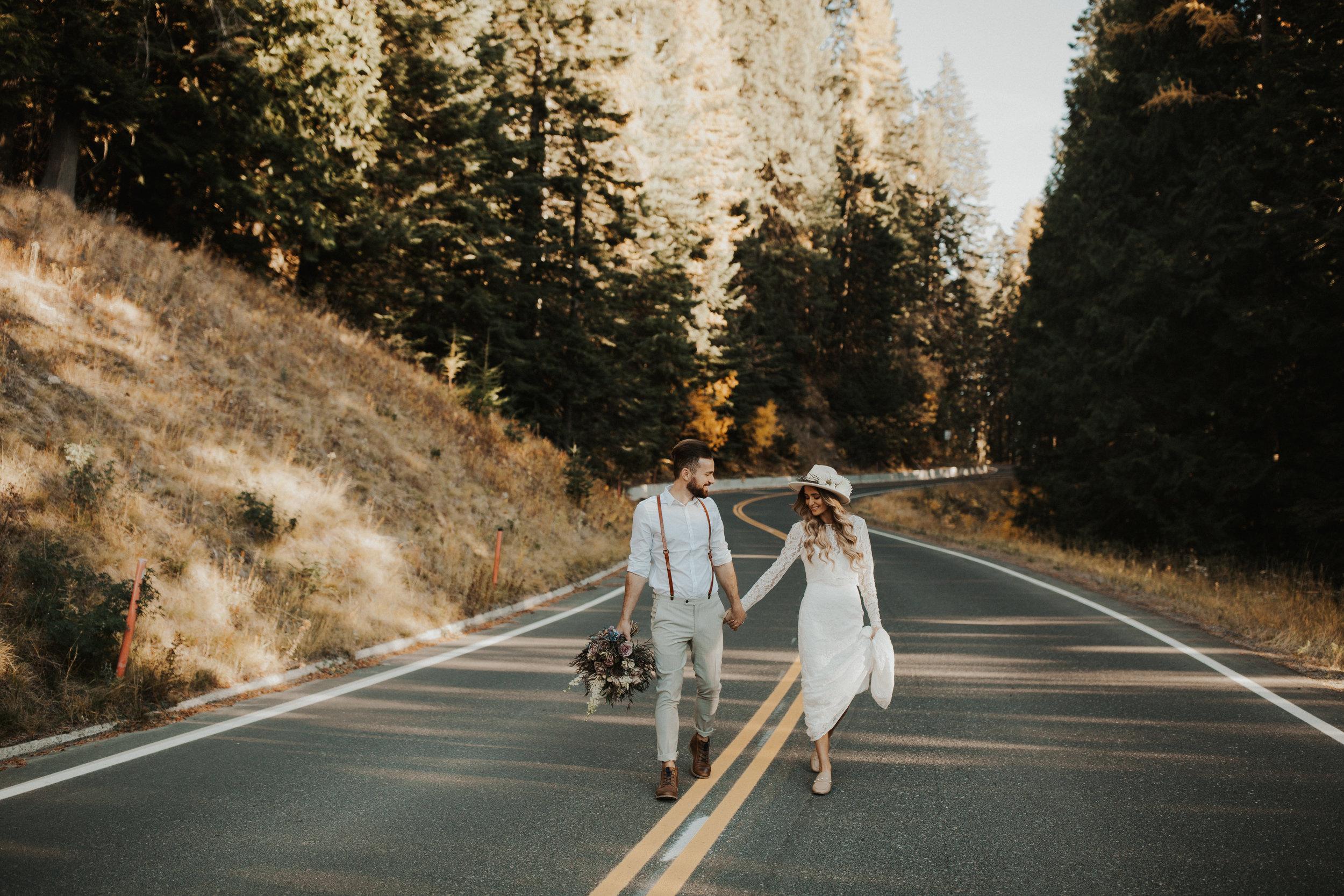 walking down the road Spokane bridal photo shoot wedding image