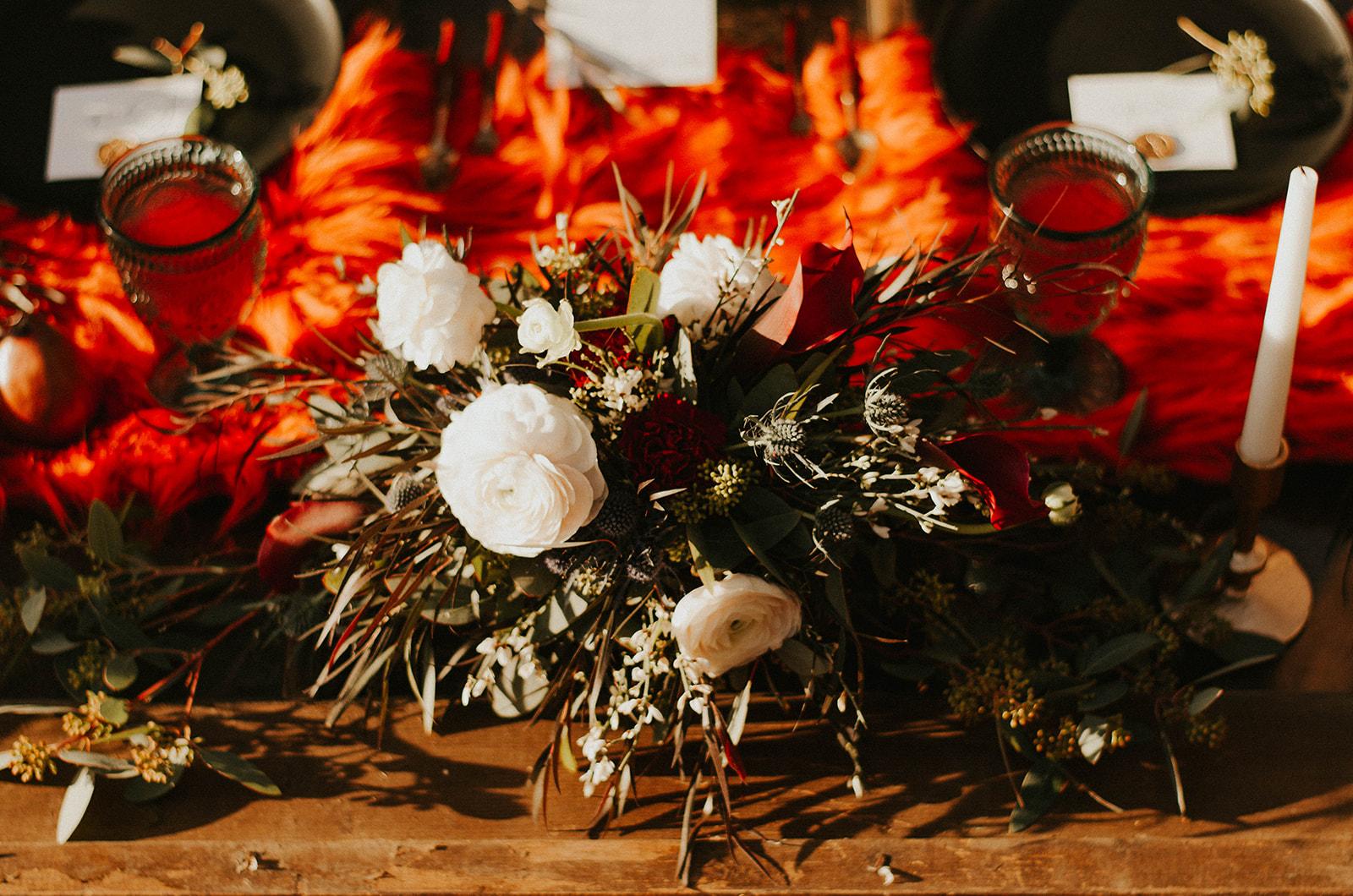 orange fur centerpiece wedding photo shoot