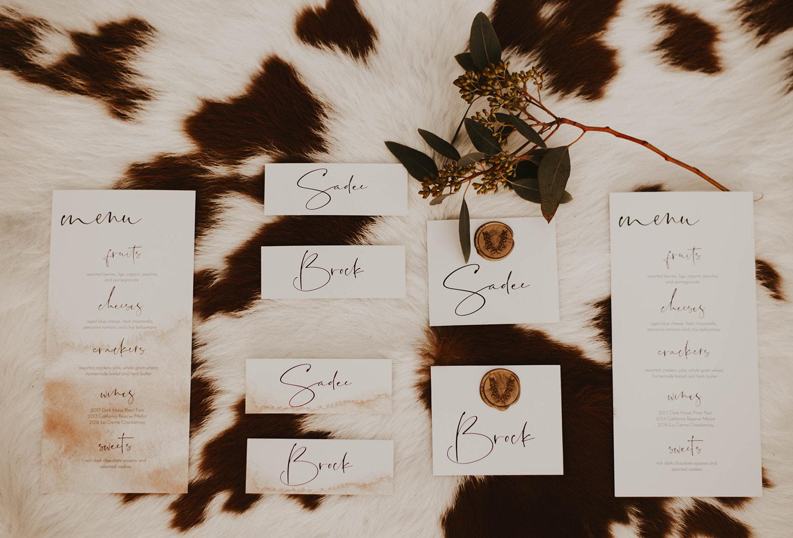 wedding calligraphy spokane elopement