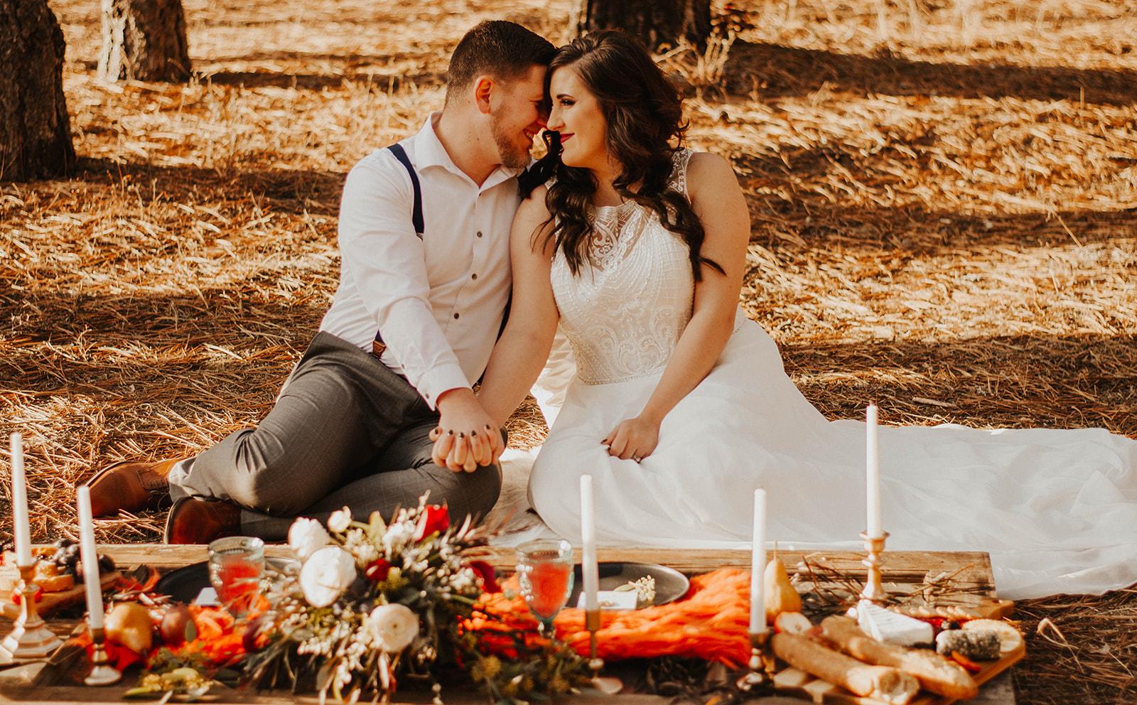 couple at wedding elopement dinner spokane
