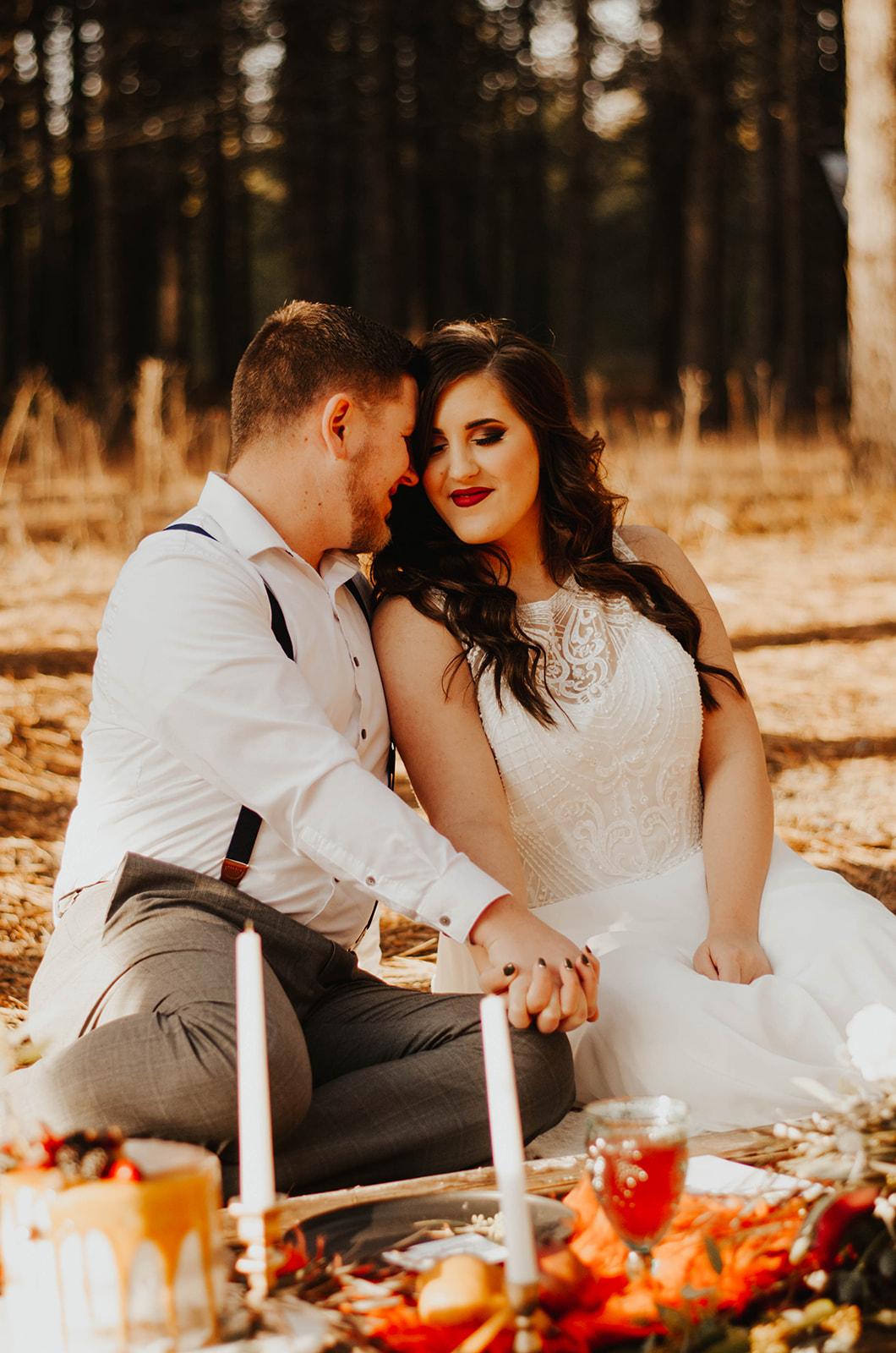 bride and groom at elopement dinner wedding spokane