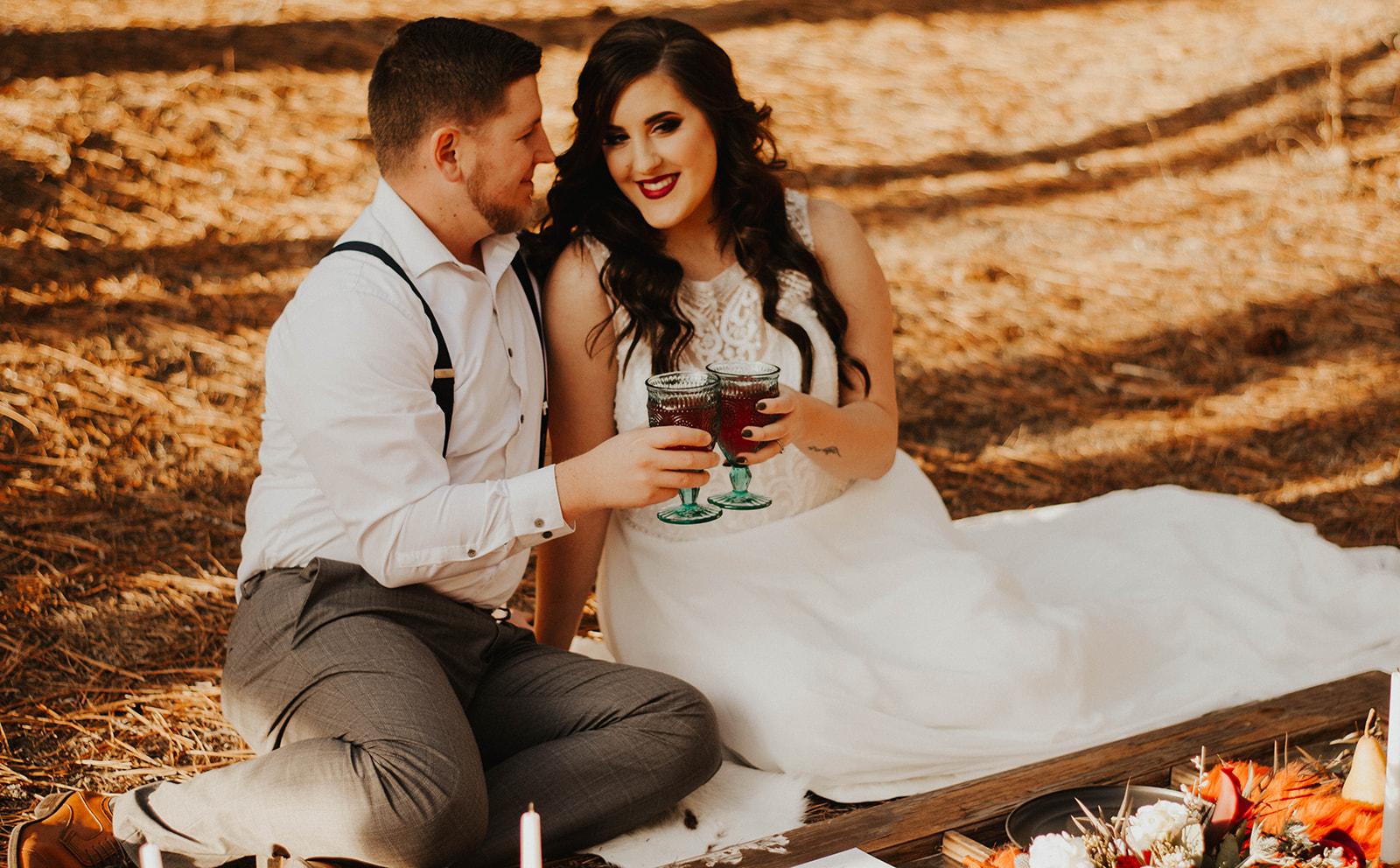 bride and groom elopement fall photo shoot spokane