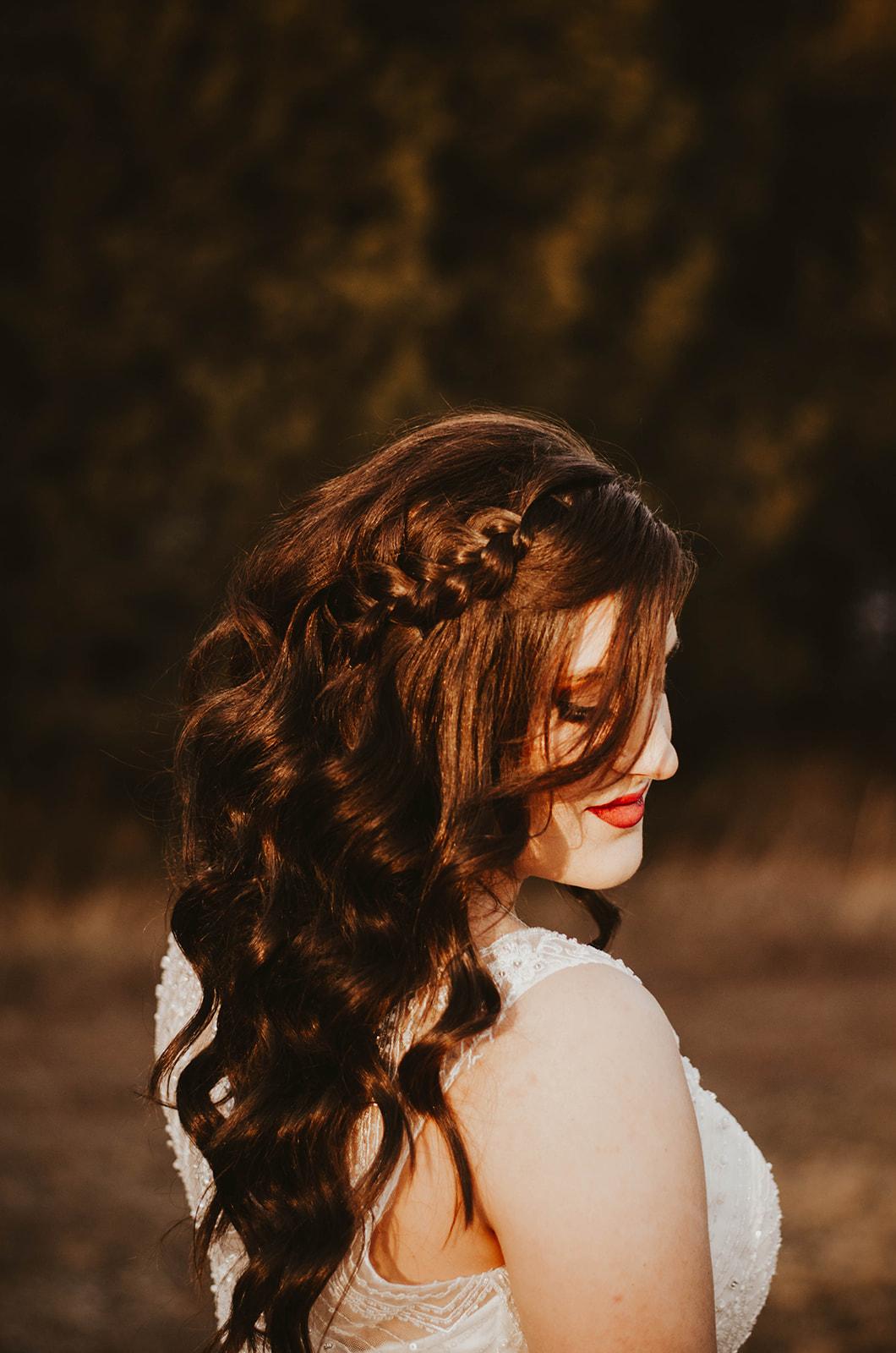 wedding hair dark braid spokane