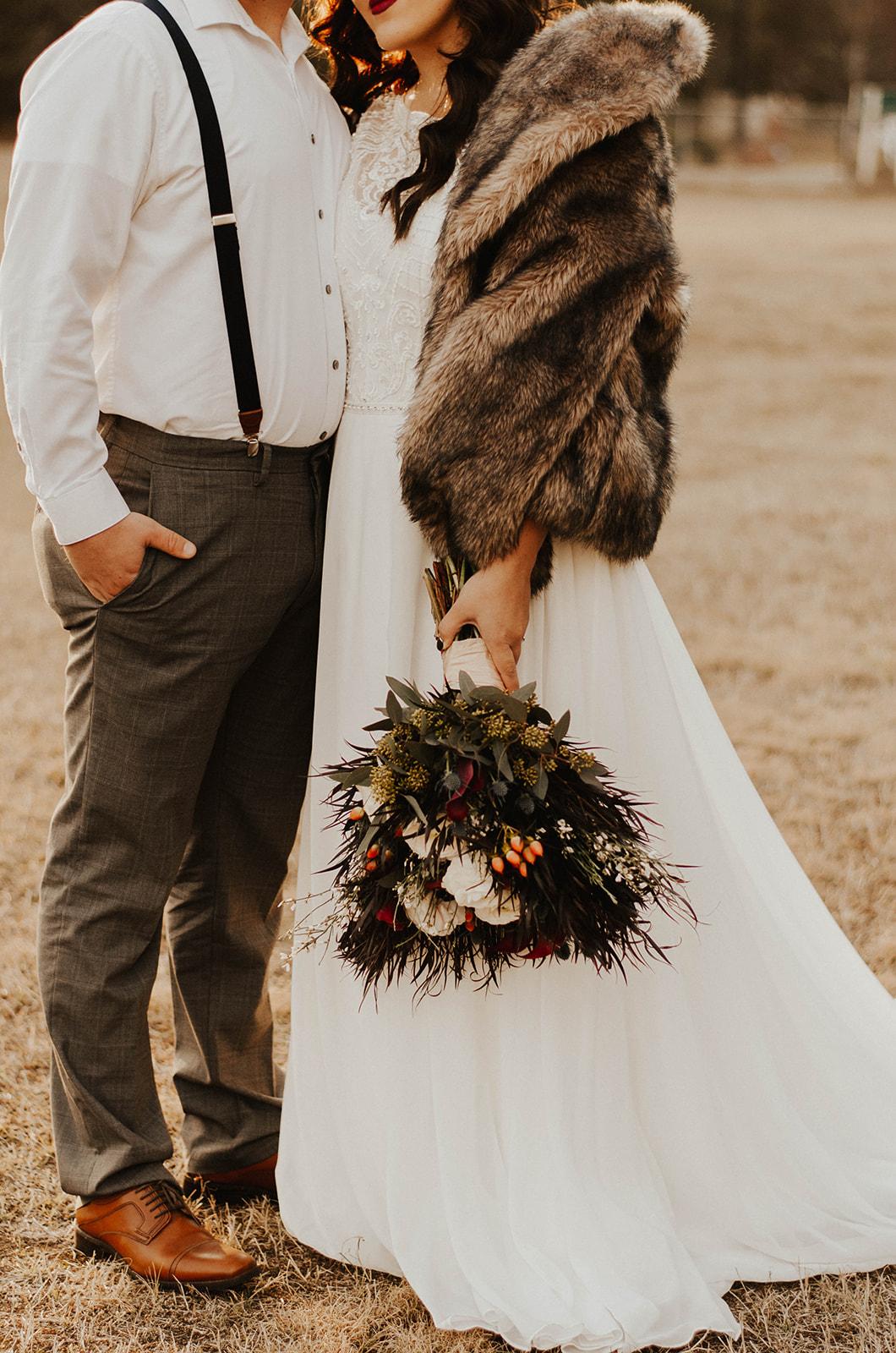 winter fur bridal spokane wedding dress