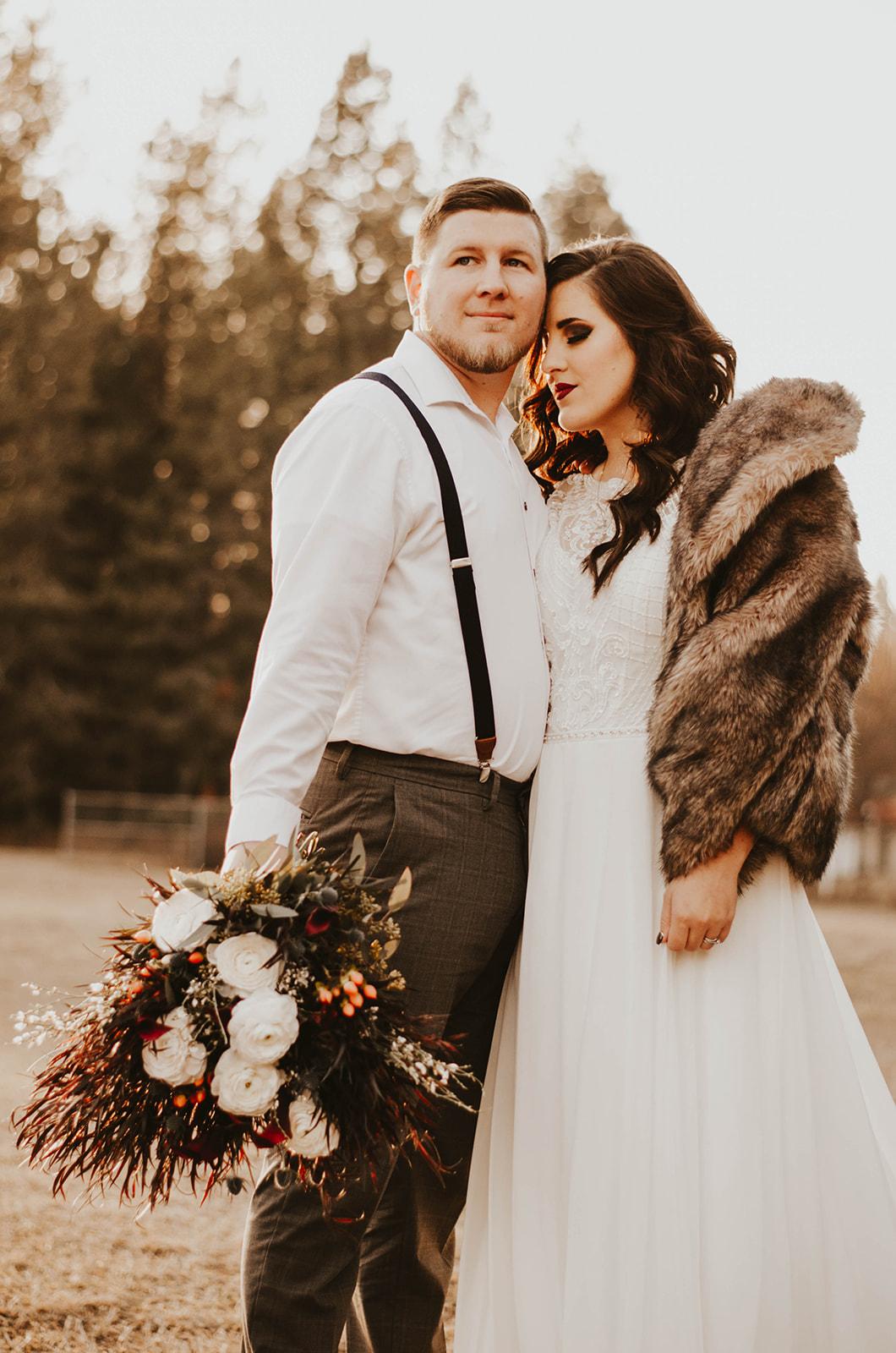 bride and groom spokane elopement wedding dress