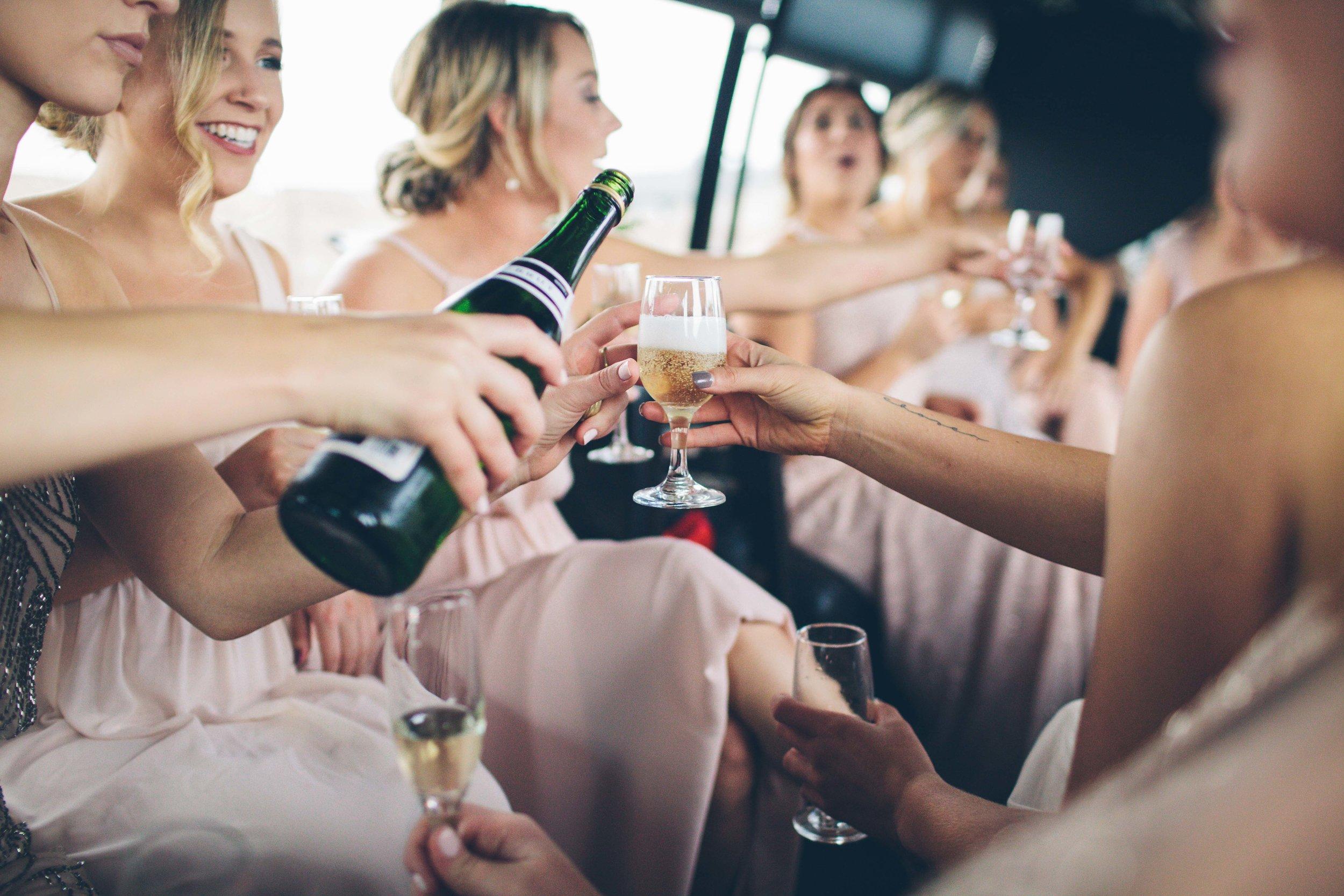 bridesmaids in the limo spokane bride