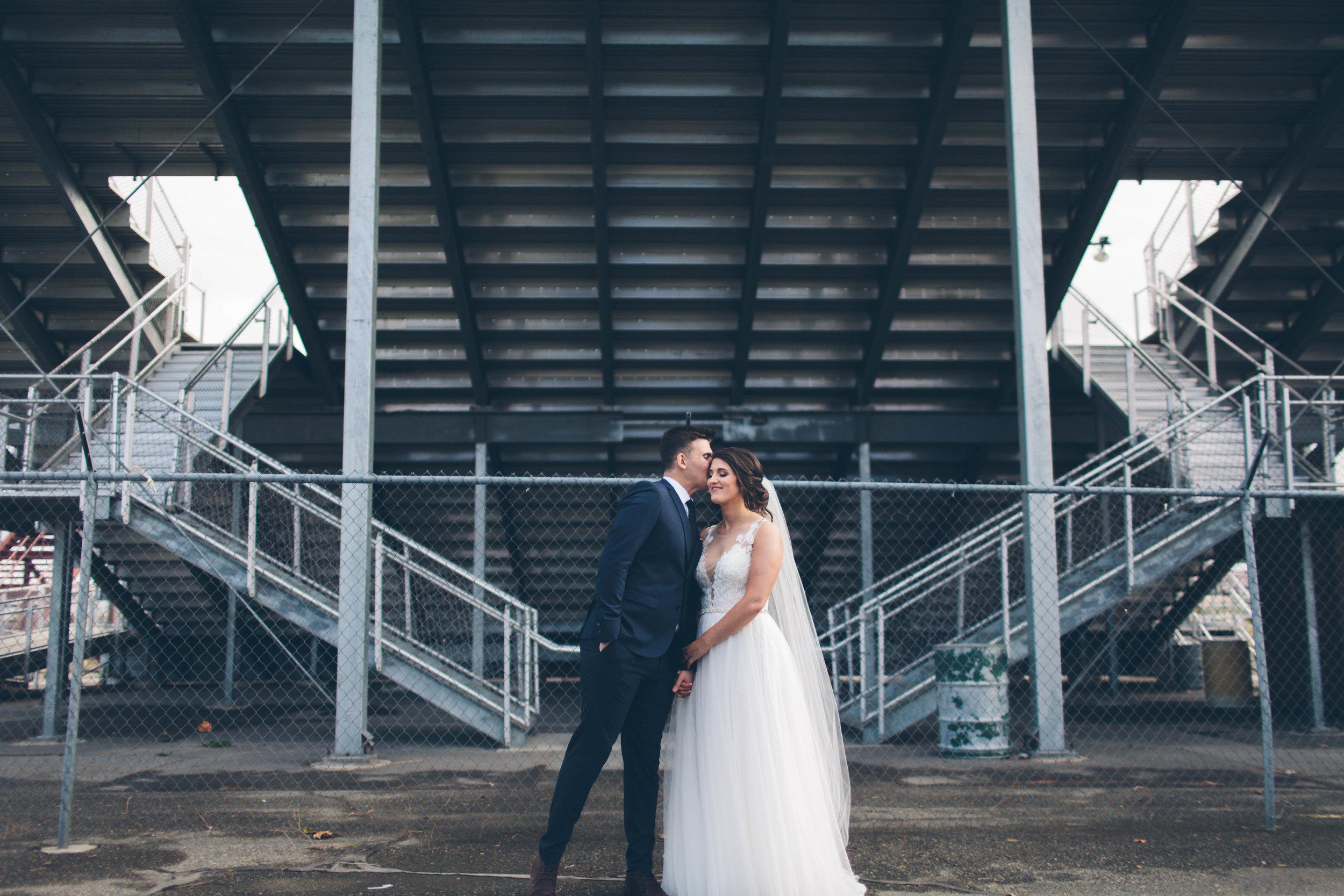 bleachers bride and groom
