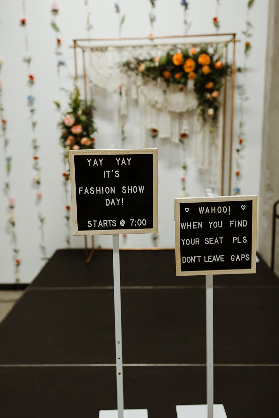 spokane wedding dress fashion show seating sign