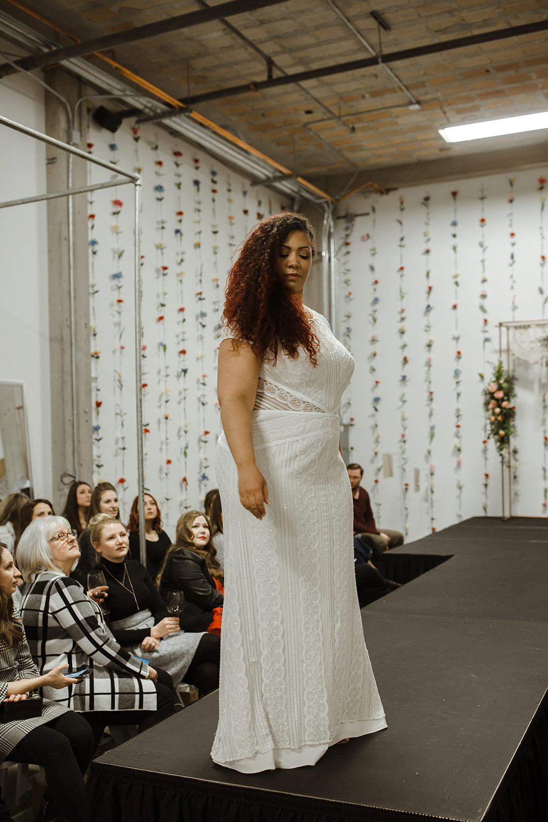 spokane wedding dress model pose runway fashion show