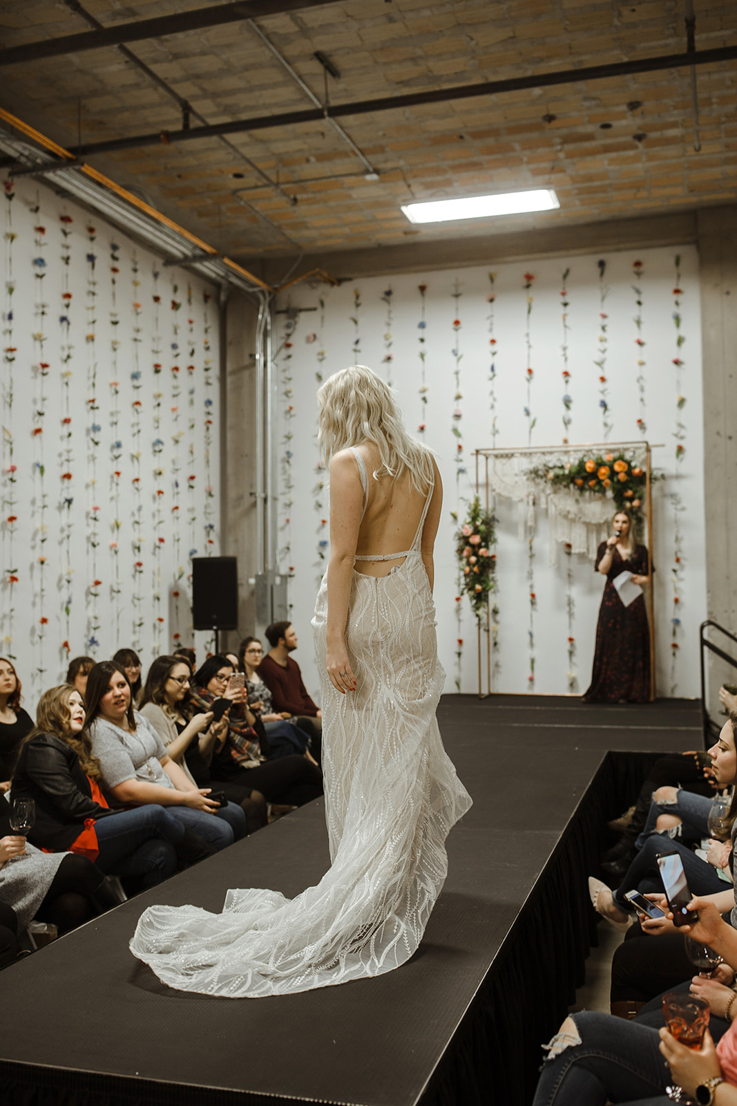 spokane wedding dress fashion show model back runway
