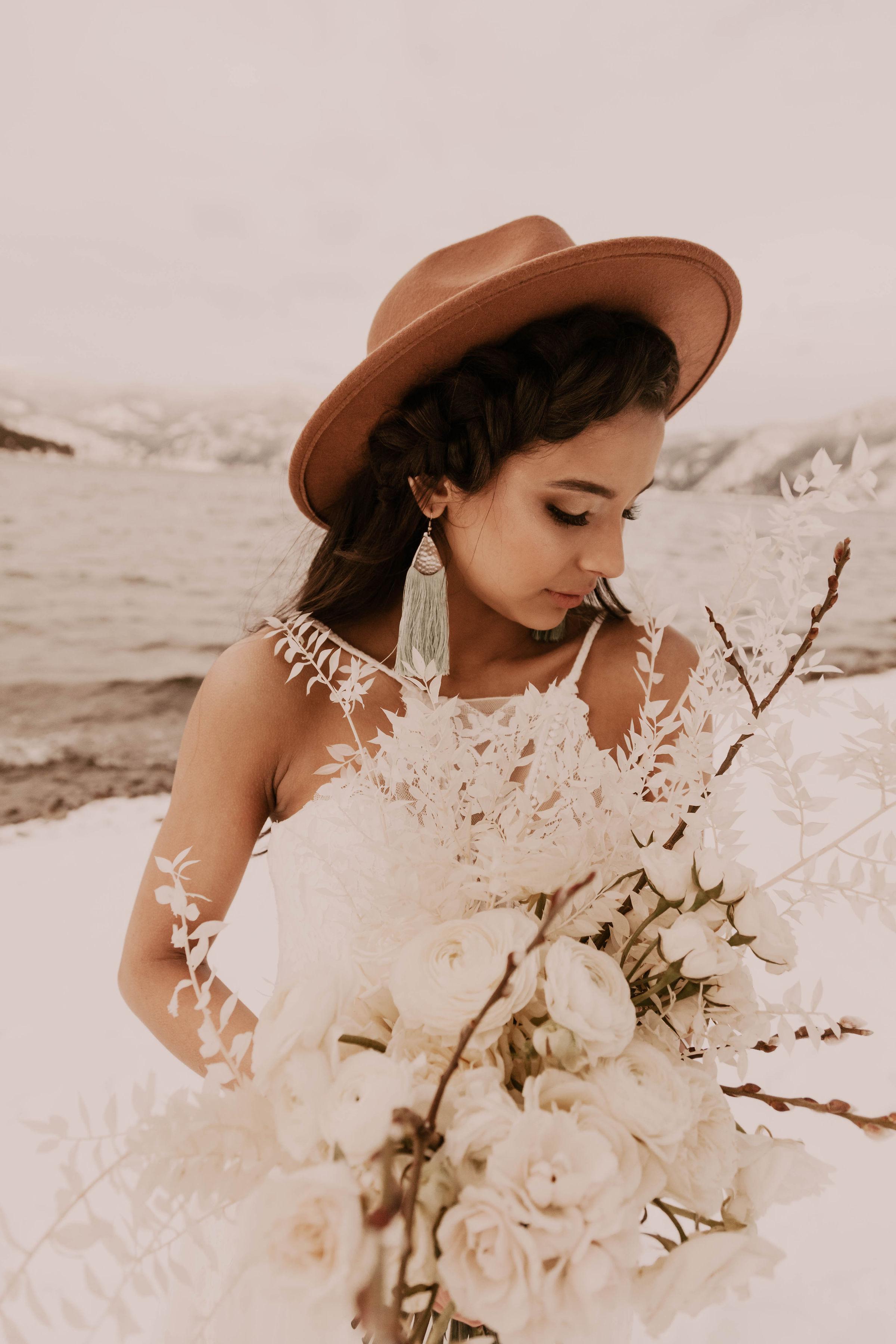 winter bride spokane in brown hat