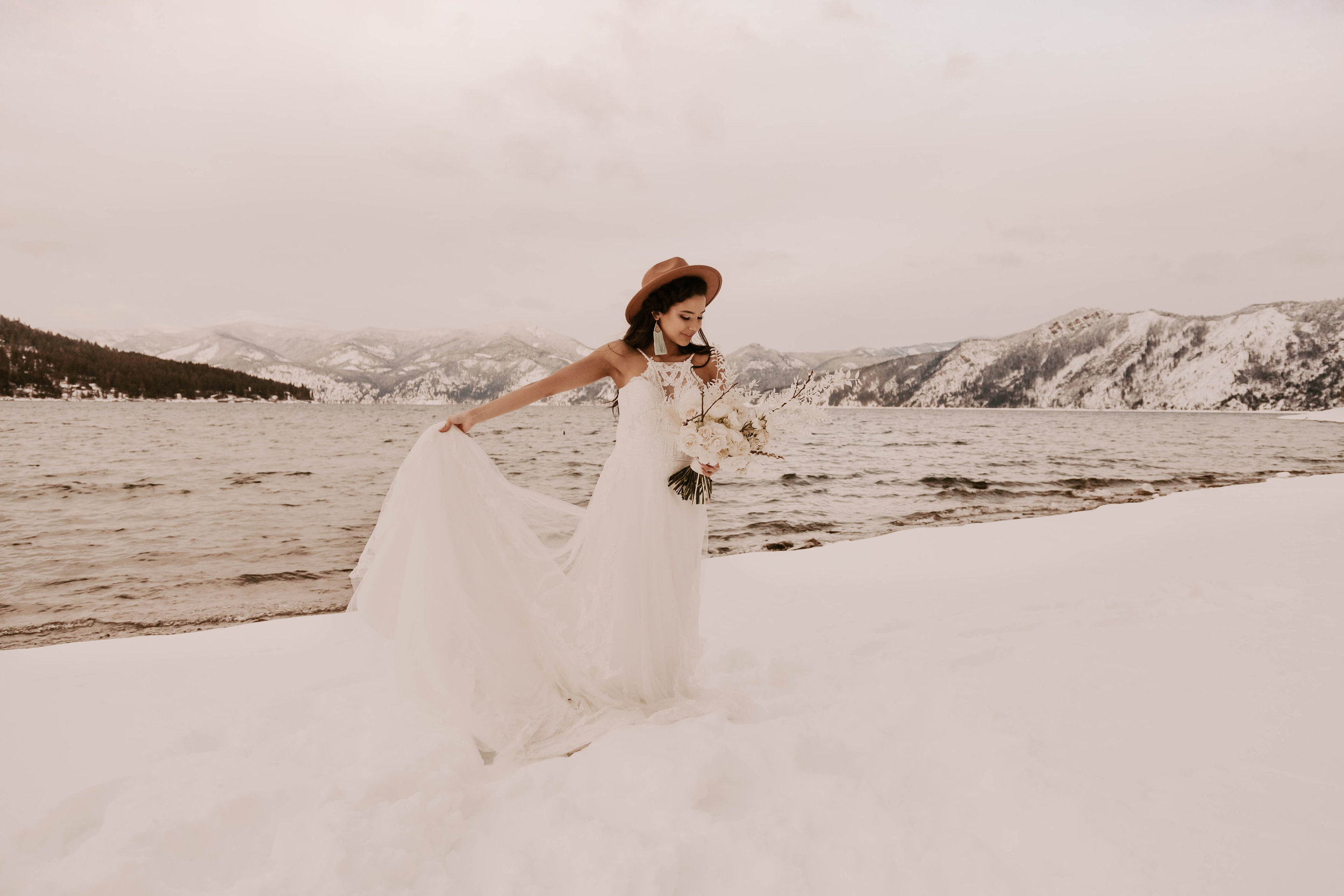 winter wedding dress bride spokane idaho