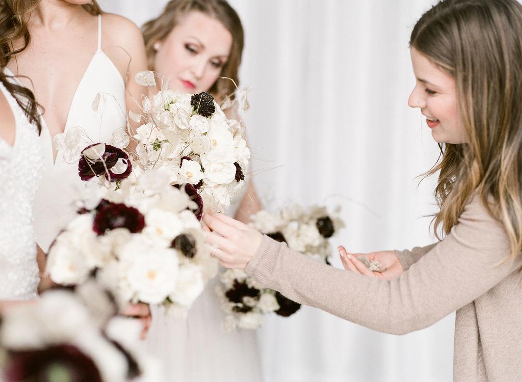 Floral bouquet winter bridal wedding shop spokane
