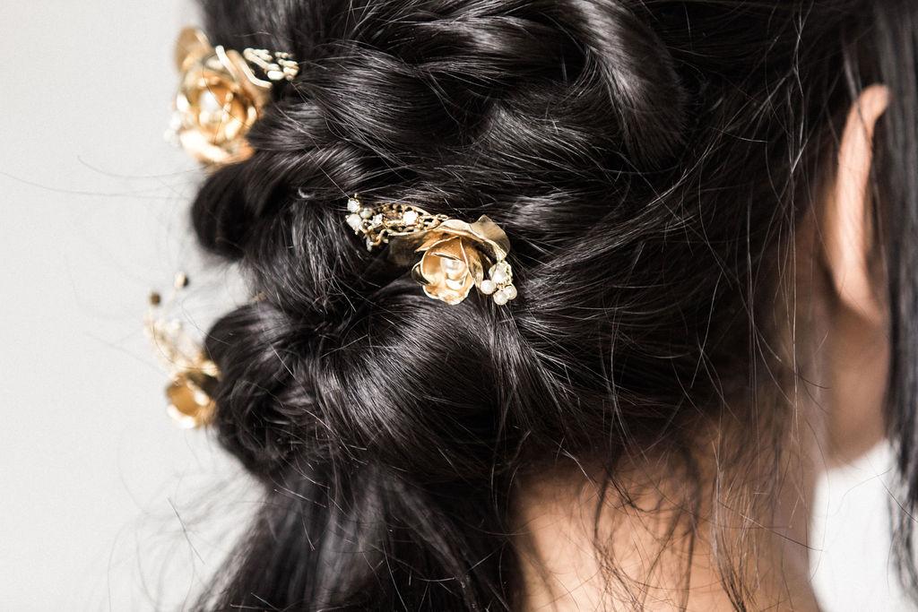 Sara Gabriel accessories dark hair bridal hair spokane