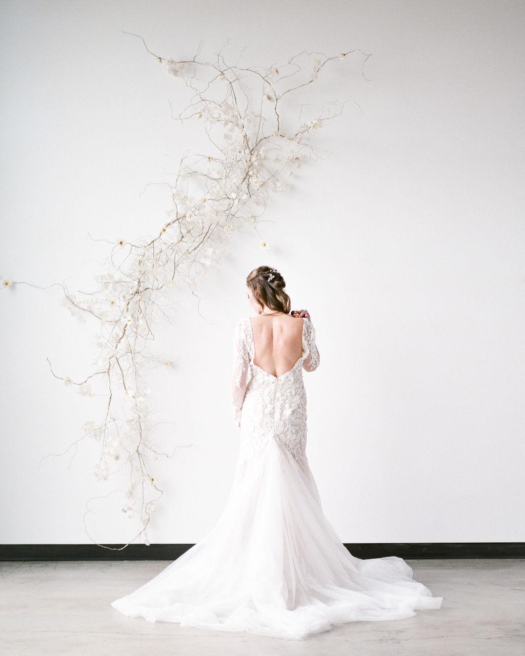 Long sleeve wedding dress bride spokane