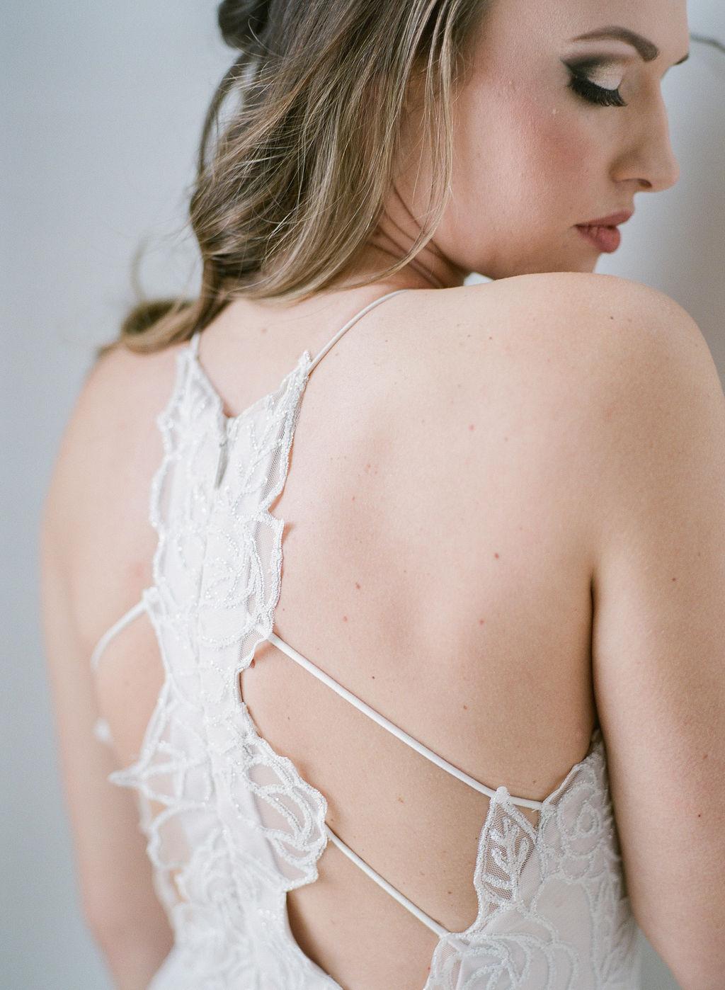 Detail back of wedding dress bride spokane