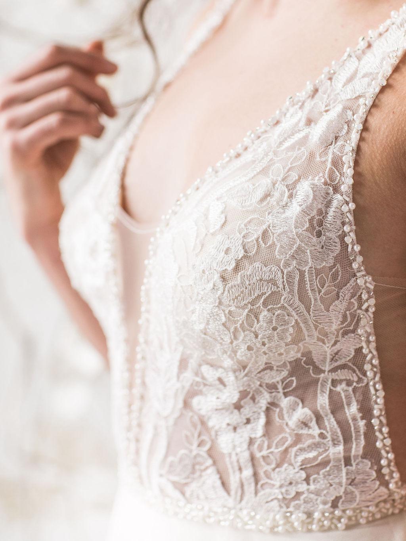 Close up lace beading wedding dress bride spokane