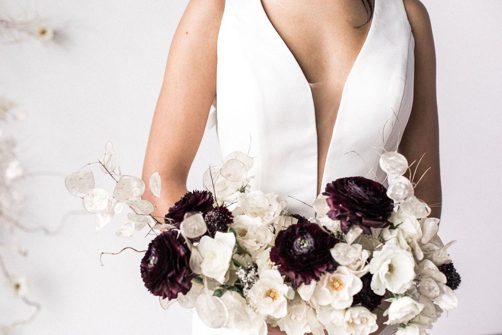 Bridal bouquet dark bright wedding spokane