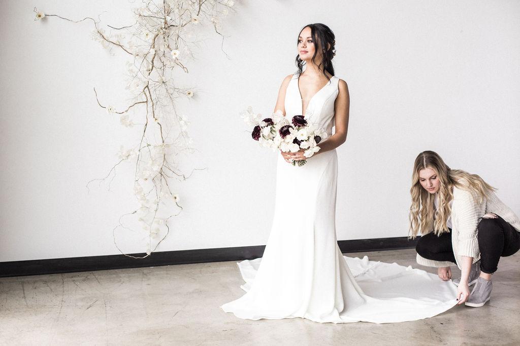 train simple wedding dress bride spokane