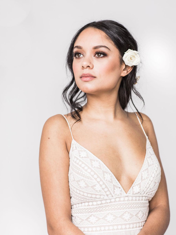 Wtoo gown flower in hair bride wedding spokane