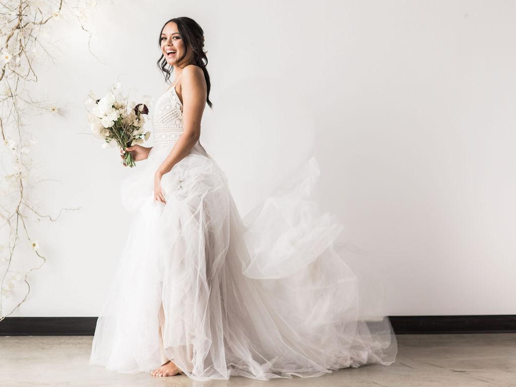 Ballgown Wtoo gown wedding bouquet bride spokane